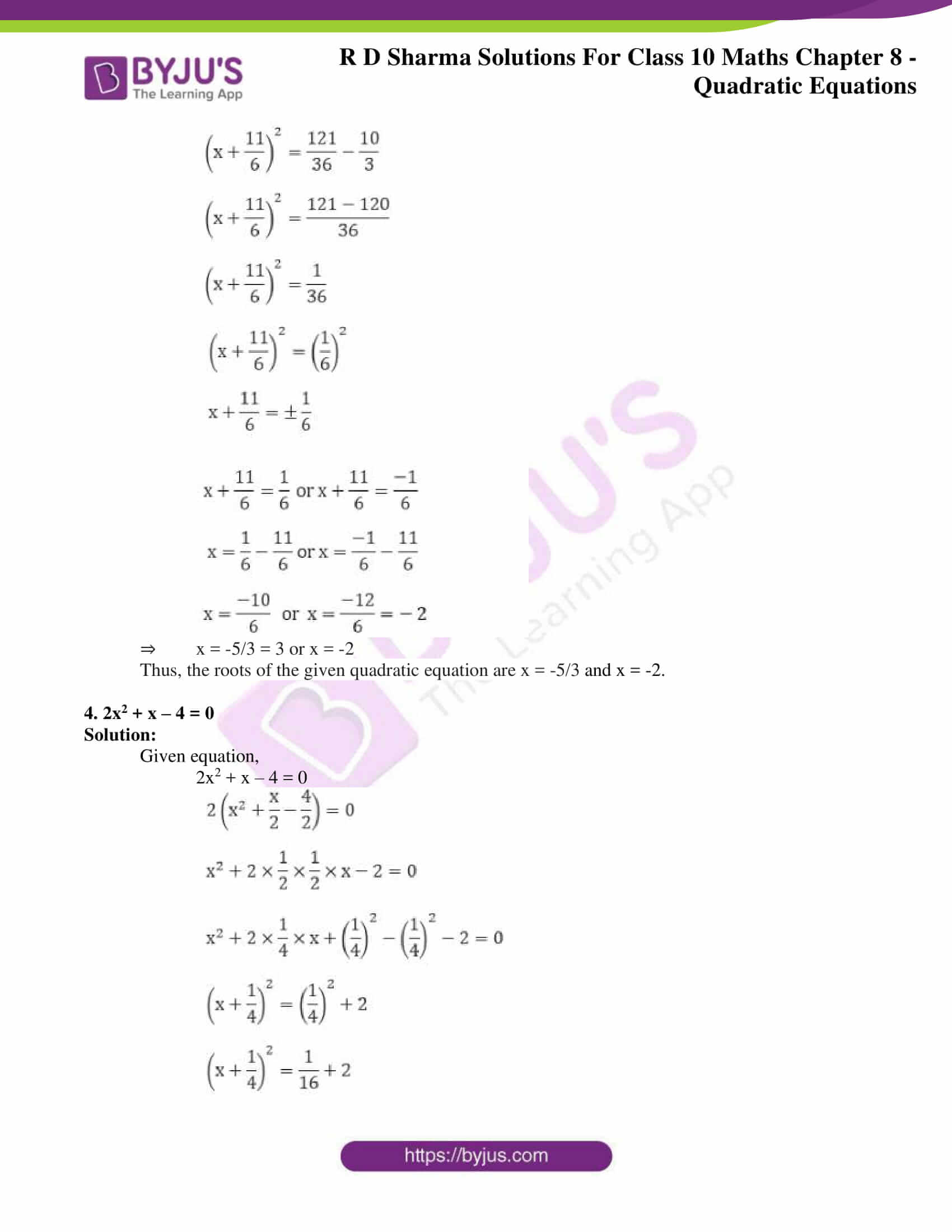 RD Sharma Solutions for Class 10 Chapter 8 Quadratic Equations 26