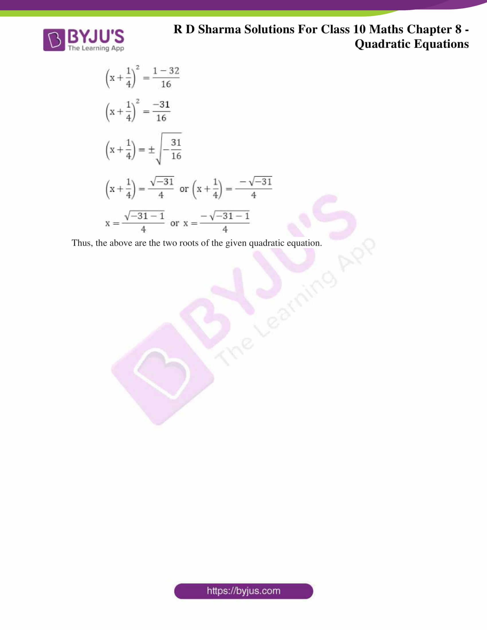 RD Sharma Solutions for Class 10 Chapter 8 Quadratic Equations 28