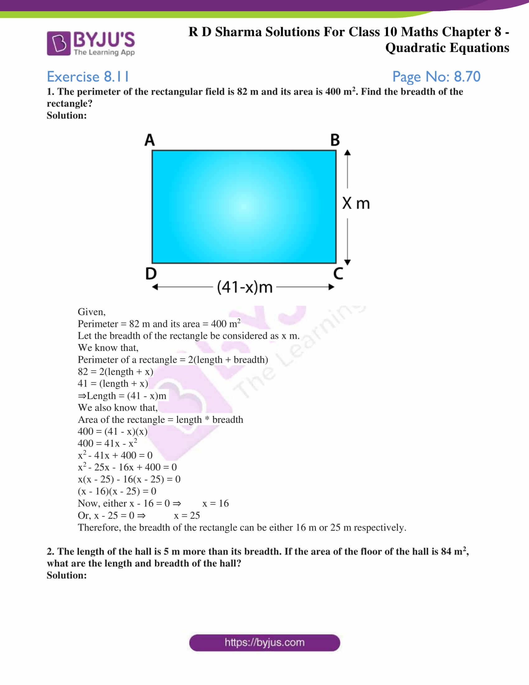 RD Sharma Solutions for Class 10 Chapter 8 Quadratic Equations Exercise 8.11 66