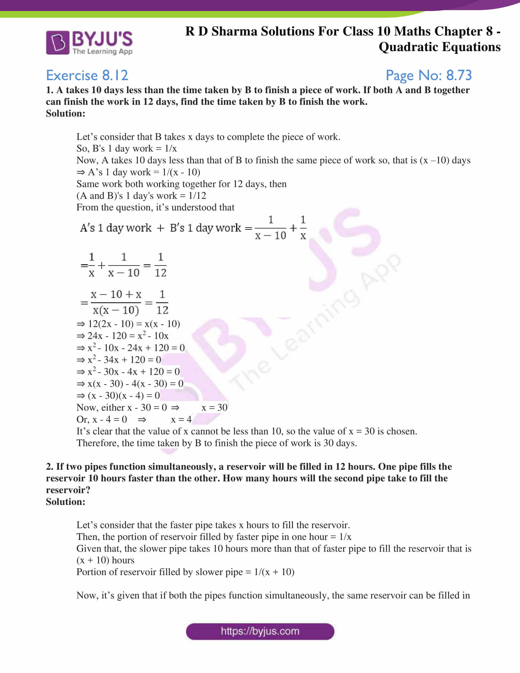 RD Sharma Solutions for Class 10 Chapter 8 Quadratic Equations Exercise 8.12 70