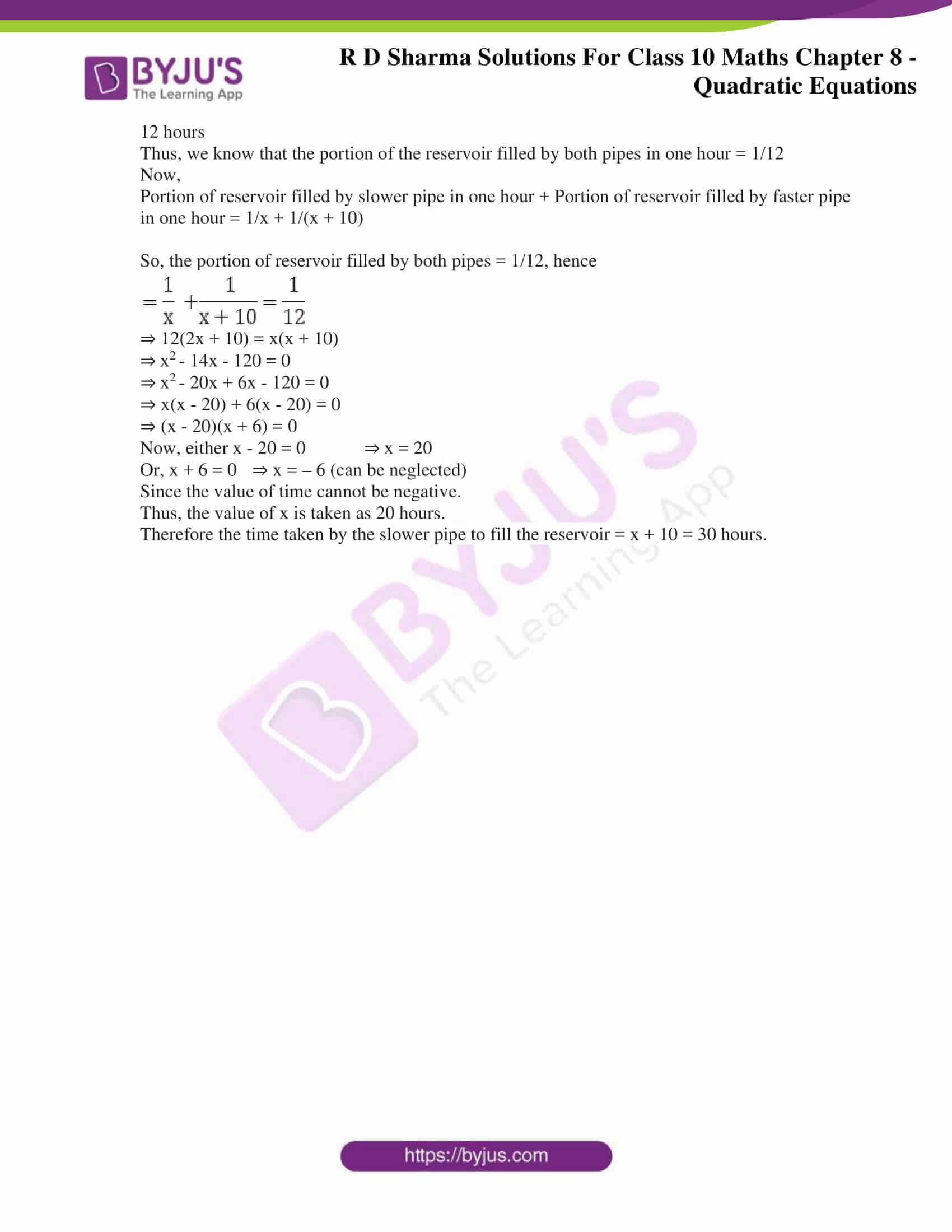 RD Sharma Solutions for Class 10 Chapter 8 Quadratic Equations Exercise 8.12 71