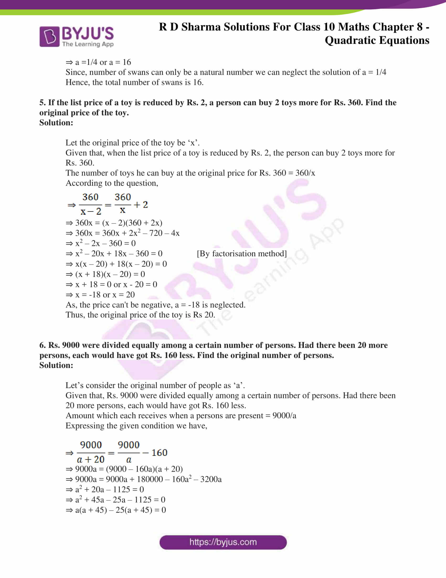 RD Sharma Solutions for Class 10 Chapter 8 Quadratic Equations 74