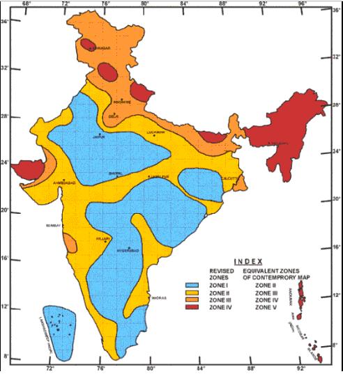 Seismic zones in India
