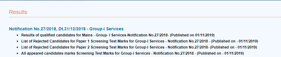 APPSC Group 1 Services Result 2019 2