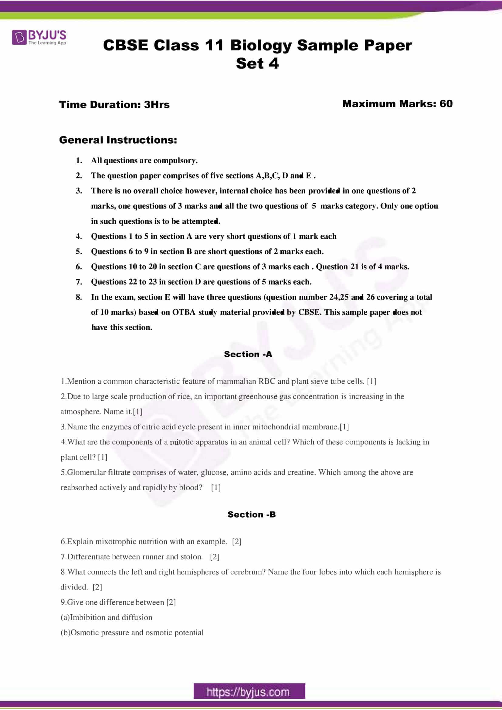 cbse class 11 bio sample paper set 4