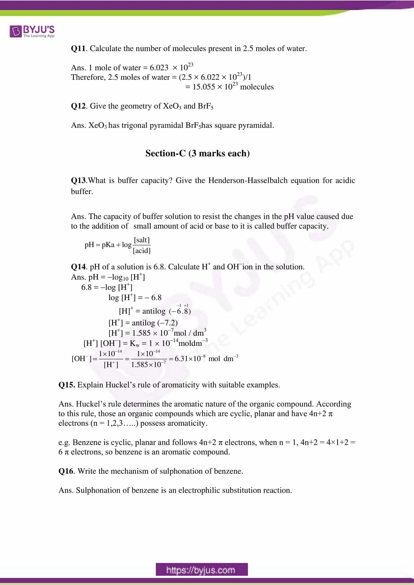 cbse class 11 che sample paper set 1 solution