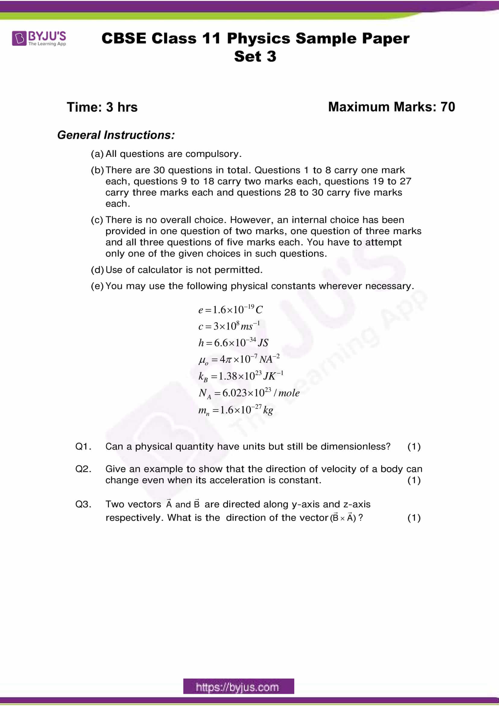 cbse class 11 phy sample paper set 3