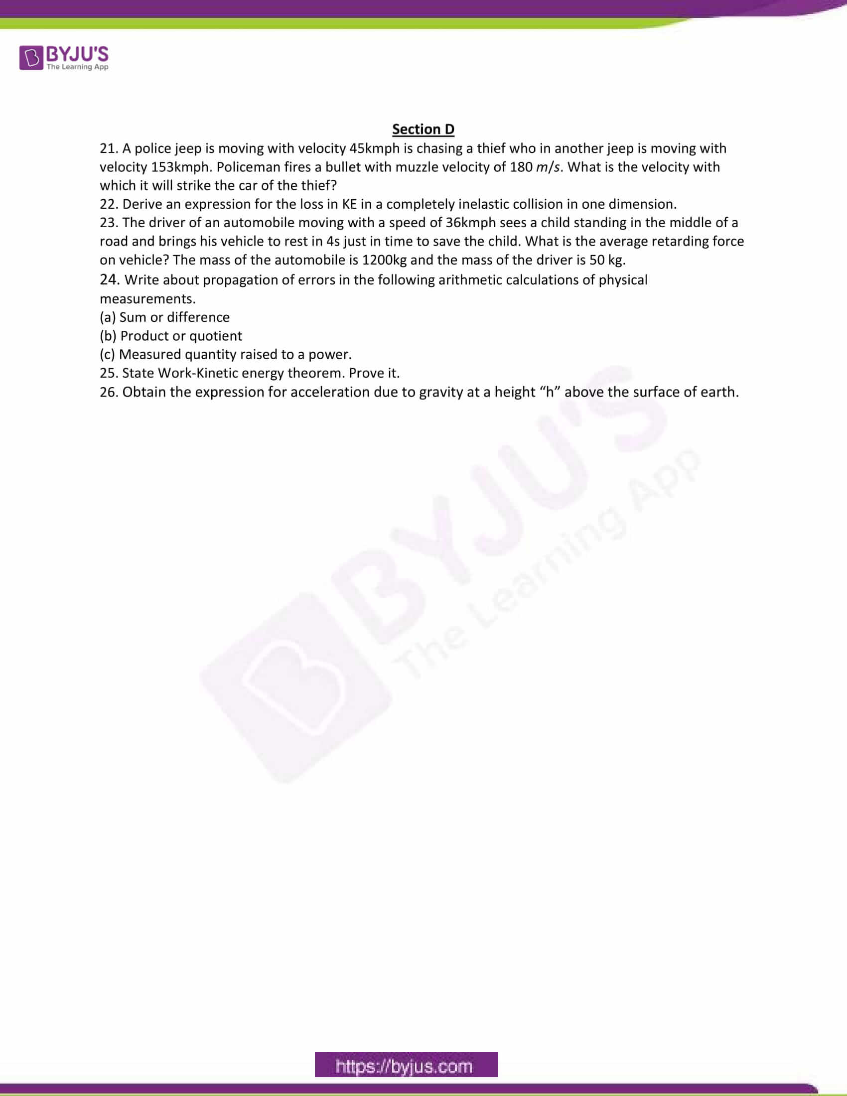 cbse class 11 phy sample paper set 6