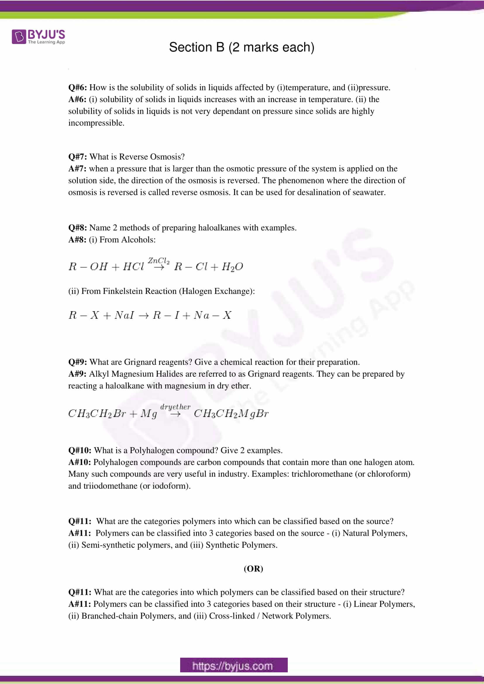 cbse class 12 chemistry sample paper solution set 3
