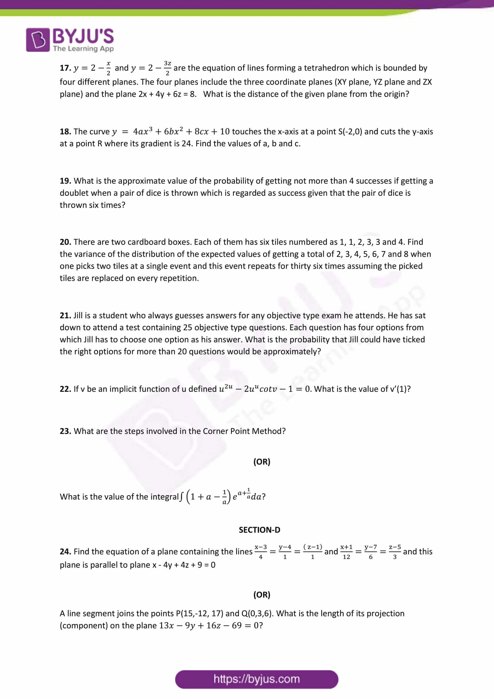 cbse class 12 maths sample paper set 1