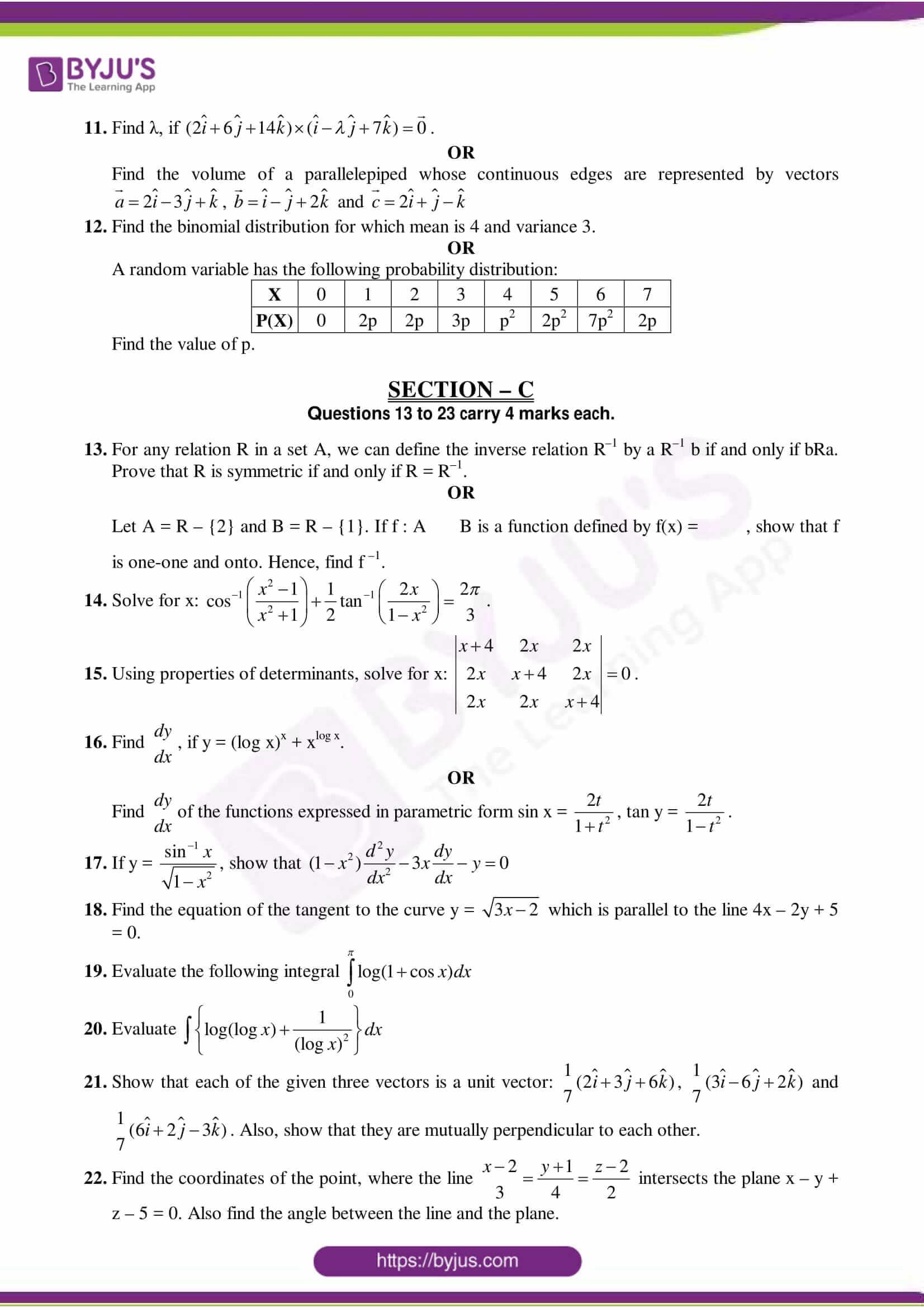cbse class 12 maths sample paper set 10