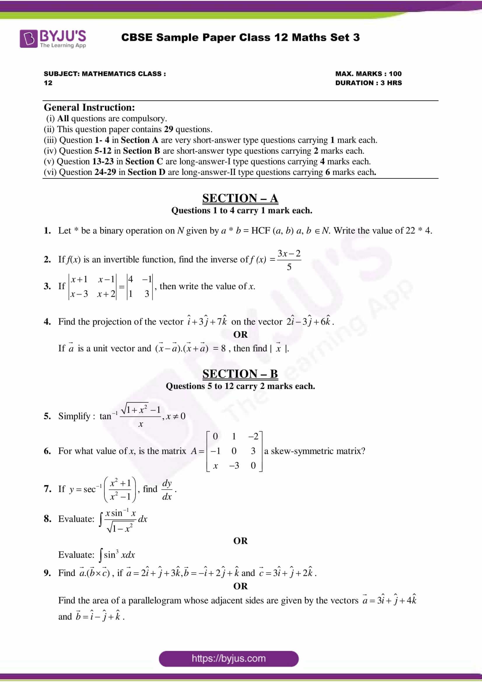 cbse class 12 maths sample paper set 3