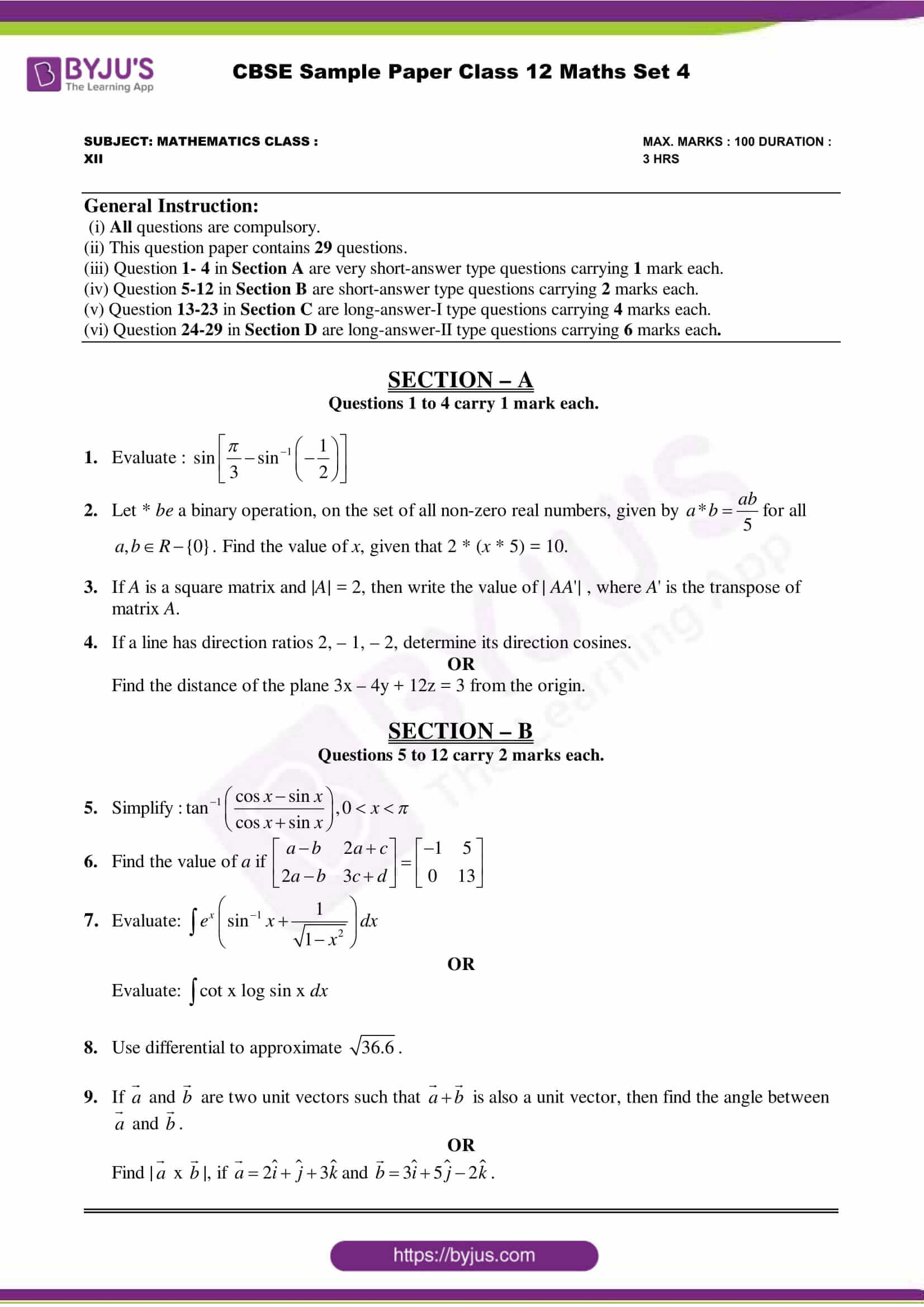 cbse class 12 maths sample paper set 4