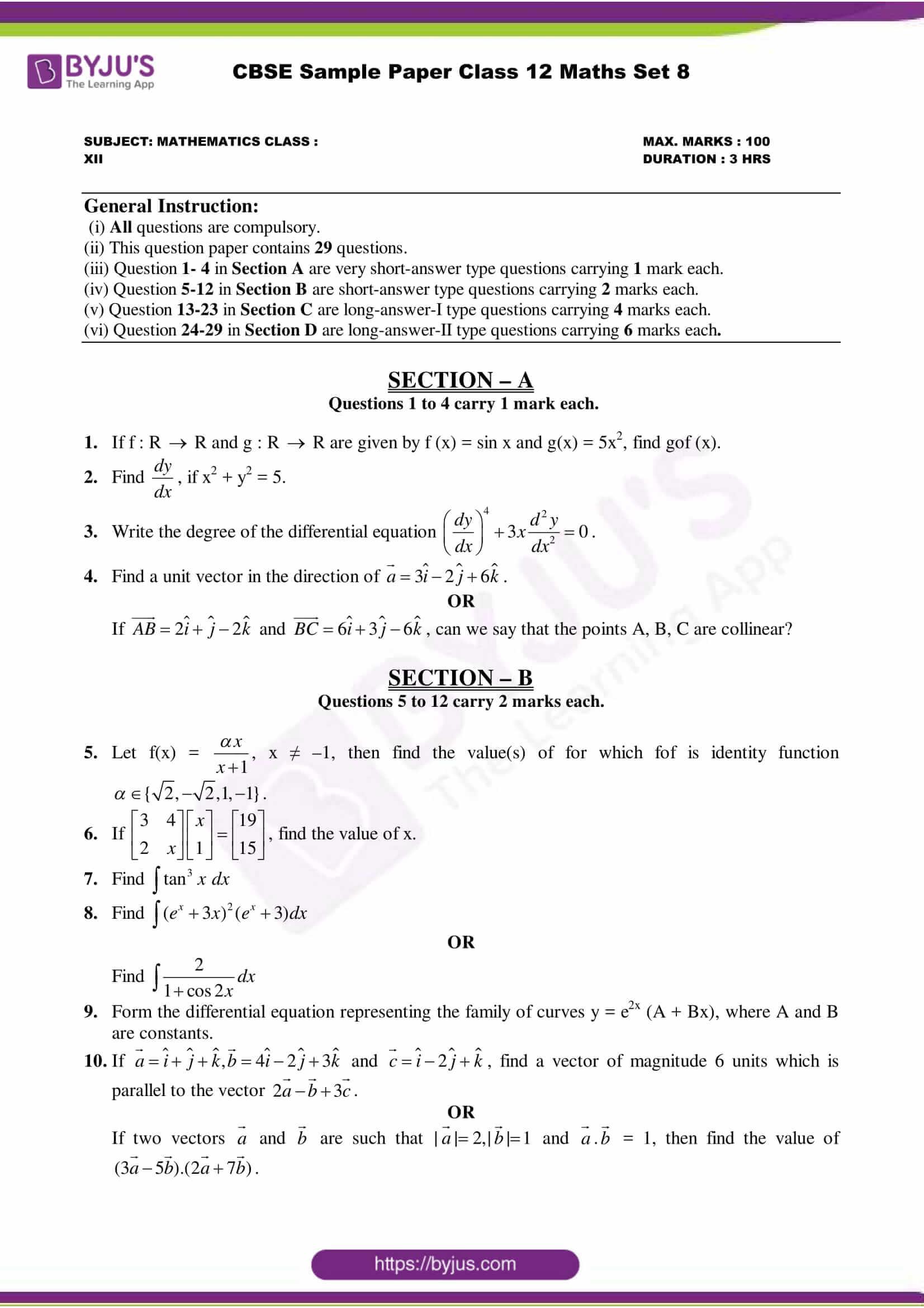 cbse class 12 maths sample paper set 8