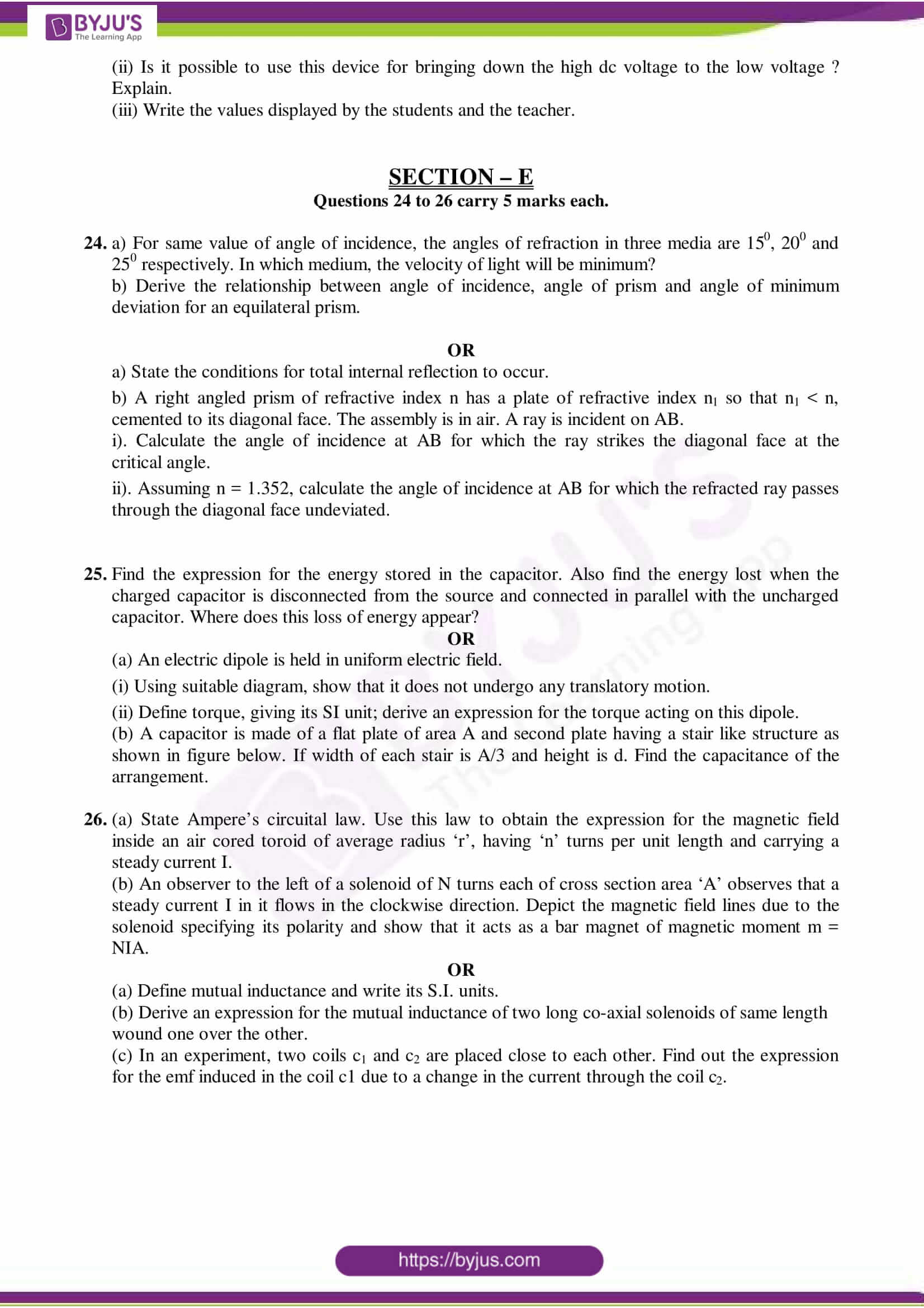 cbse class 12 physics sample paper set 10