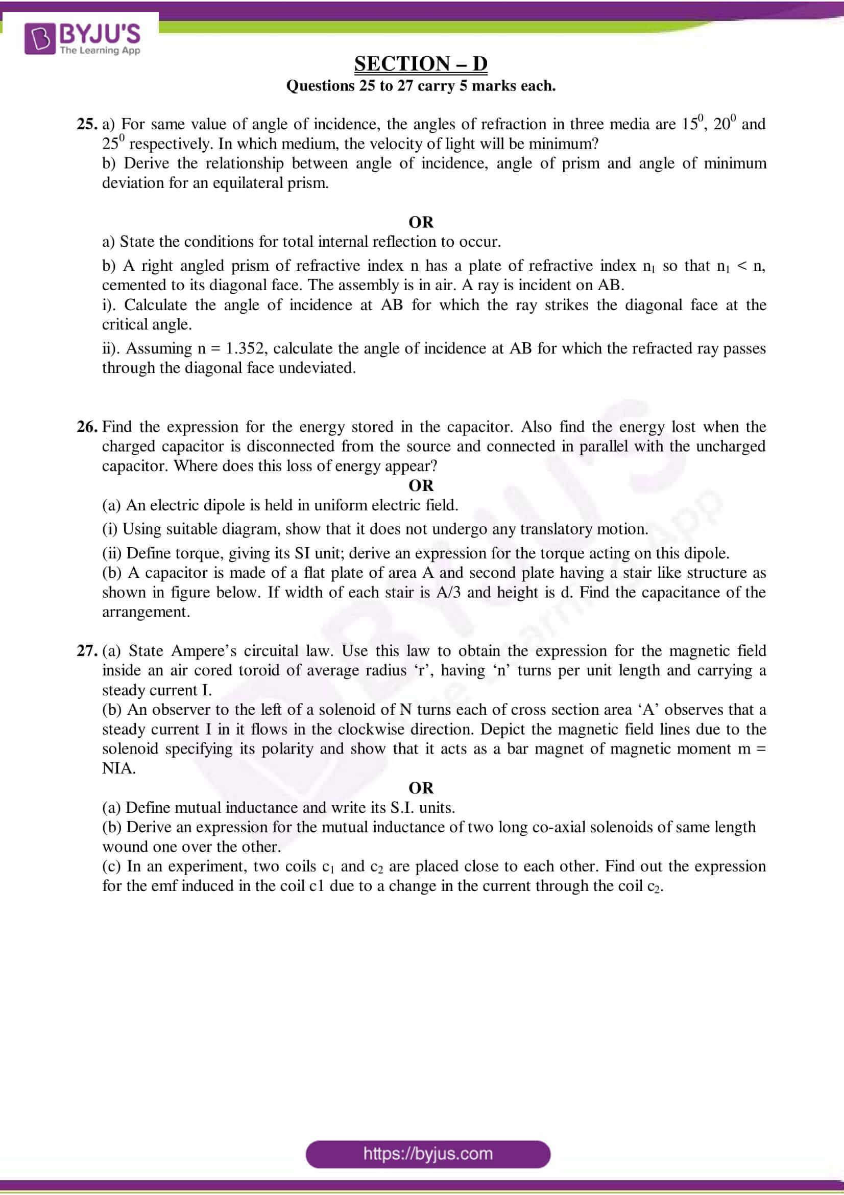 cbse class 12 physics sample paper set 4