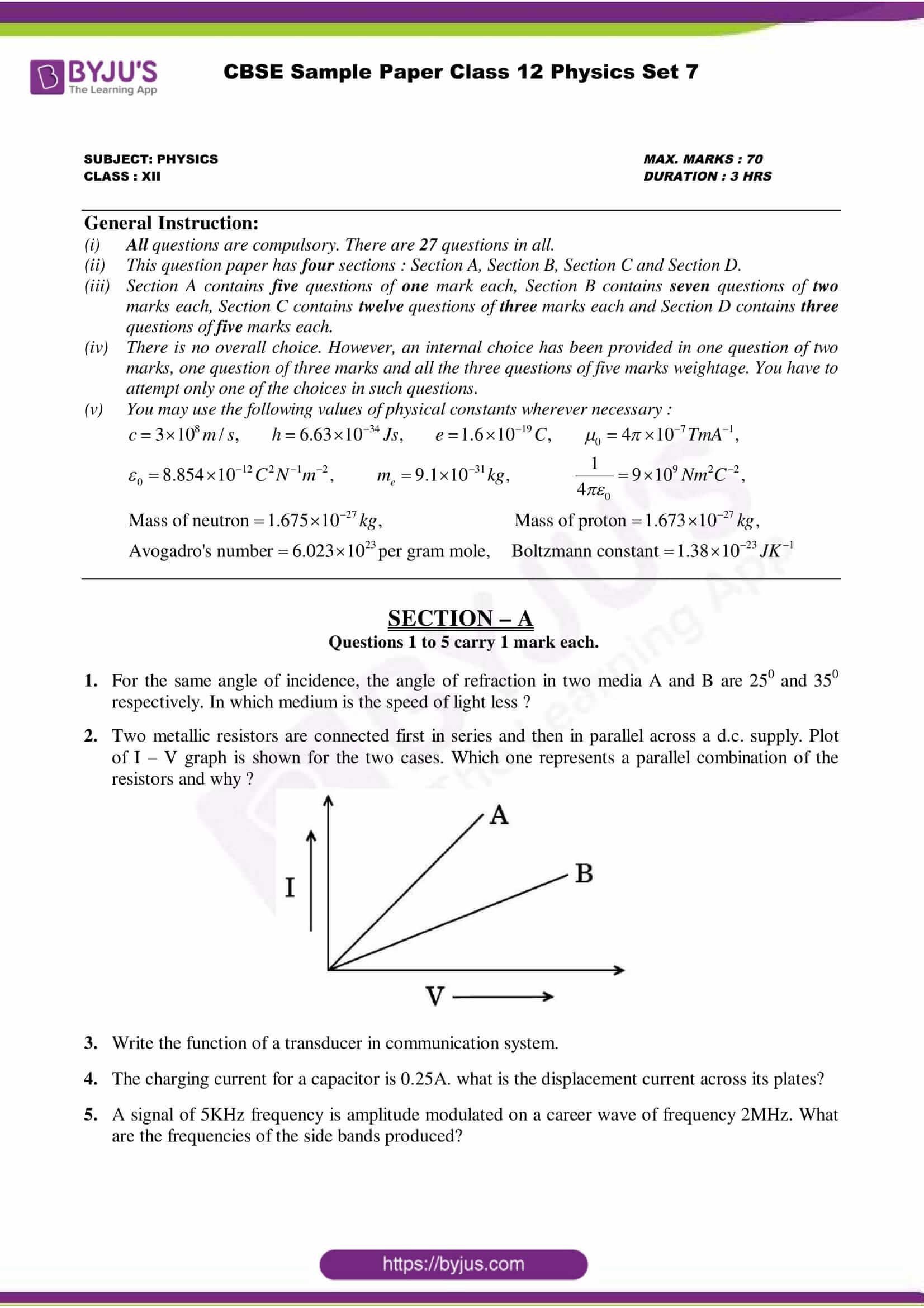 cbse class 12 physics sample paper set 7
