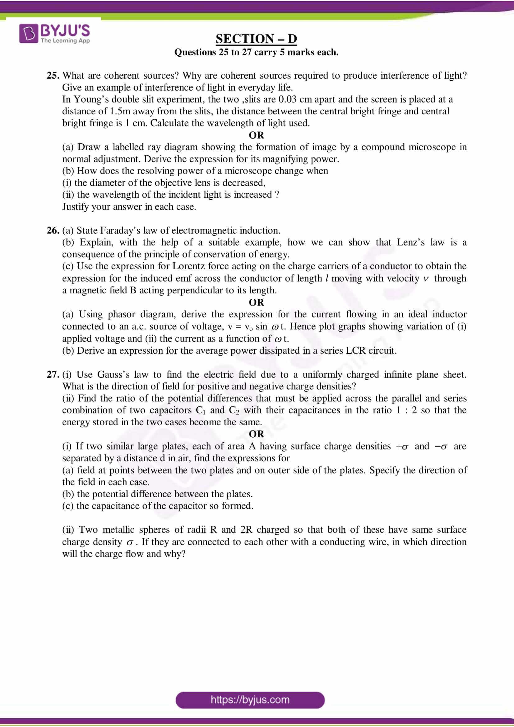 cbse class 12 physics sample paper set 8