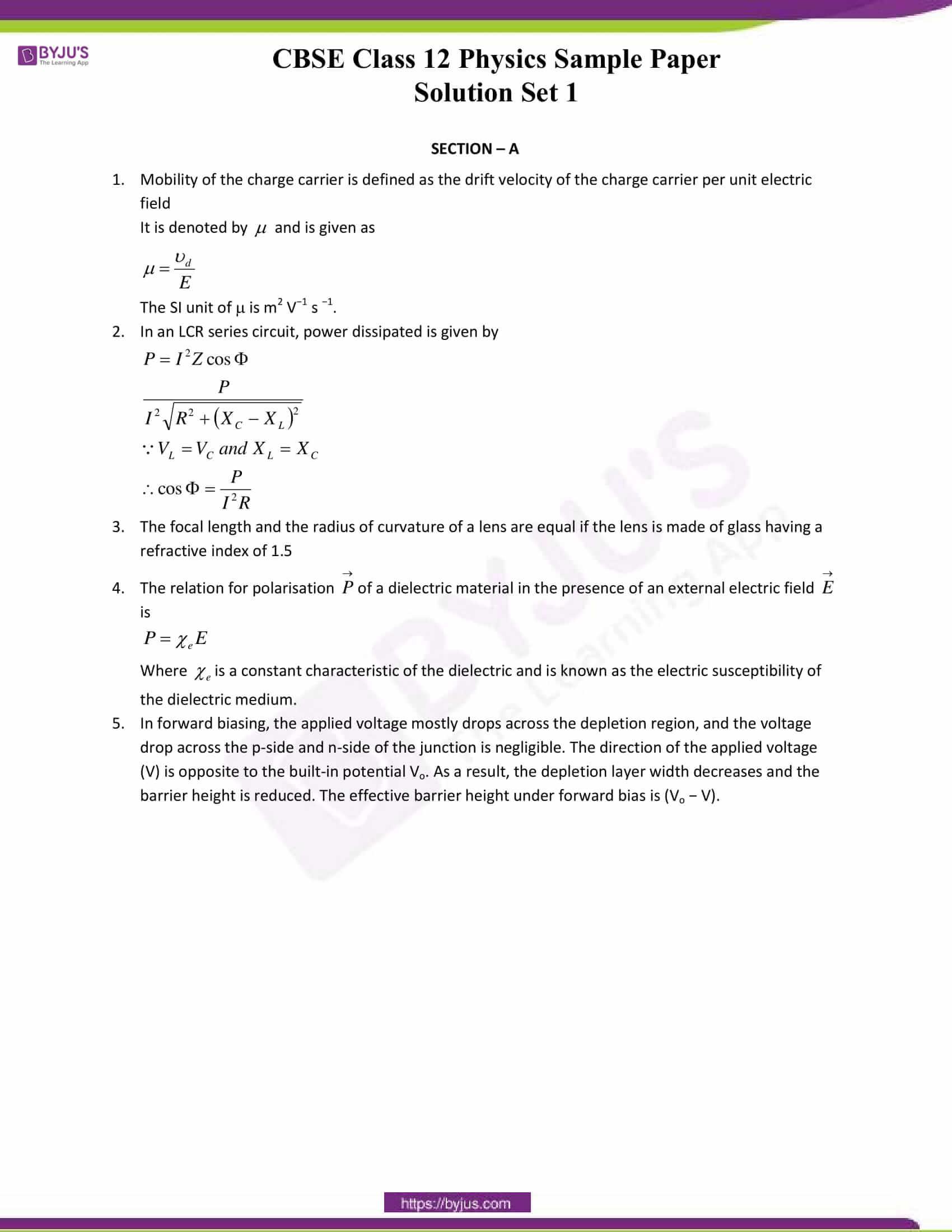cbse class 12 physics sample paper solution set 1