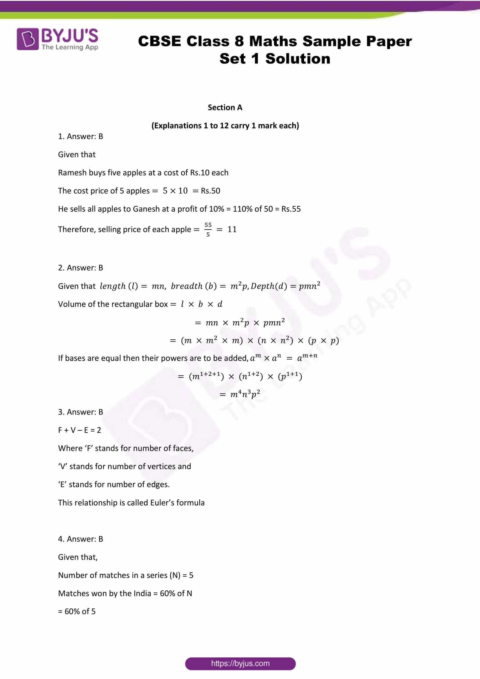 cbse class 8 maths sample paper set 1 solution