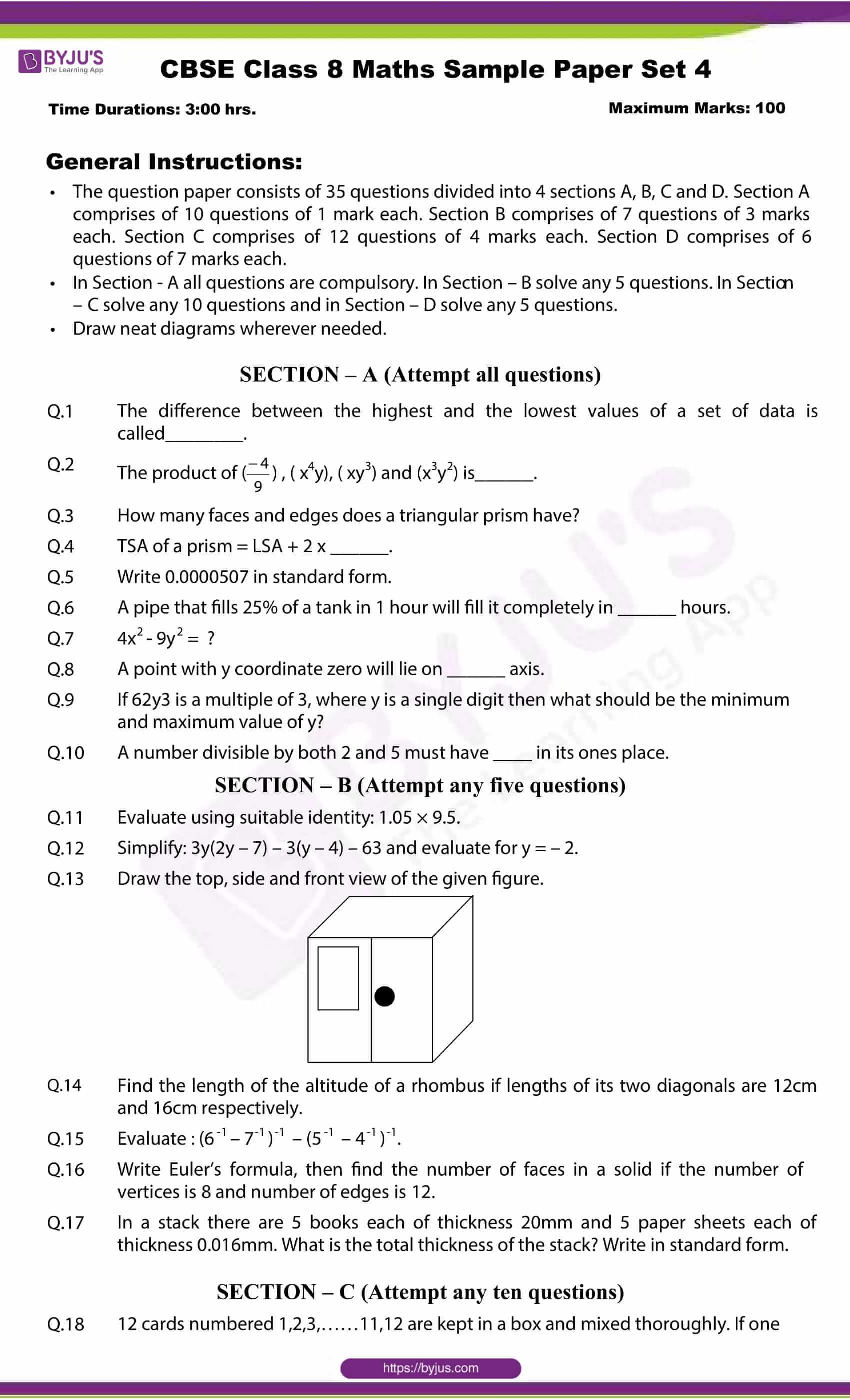 cbse class 8 maths sample paper set 4