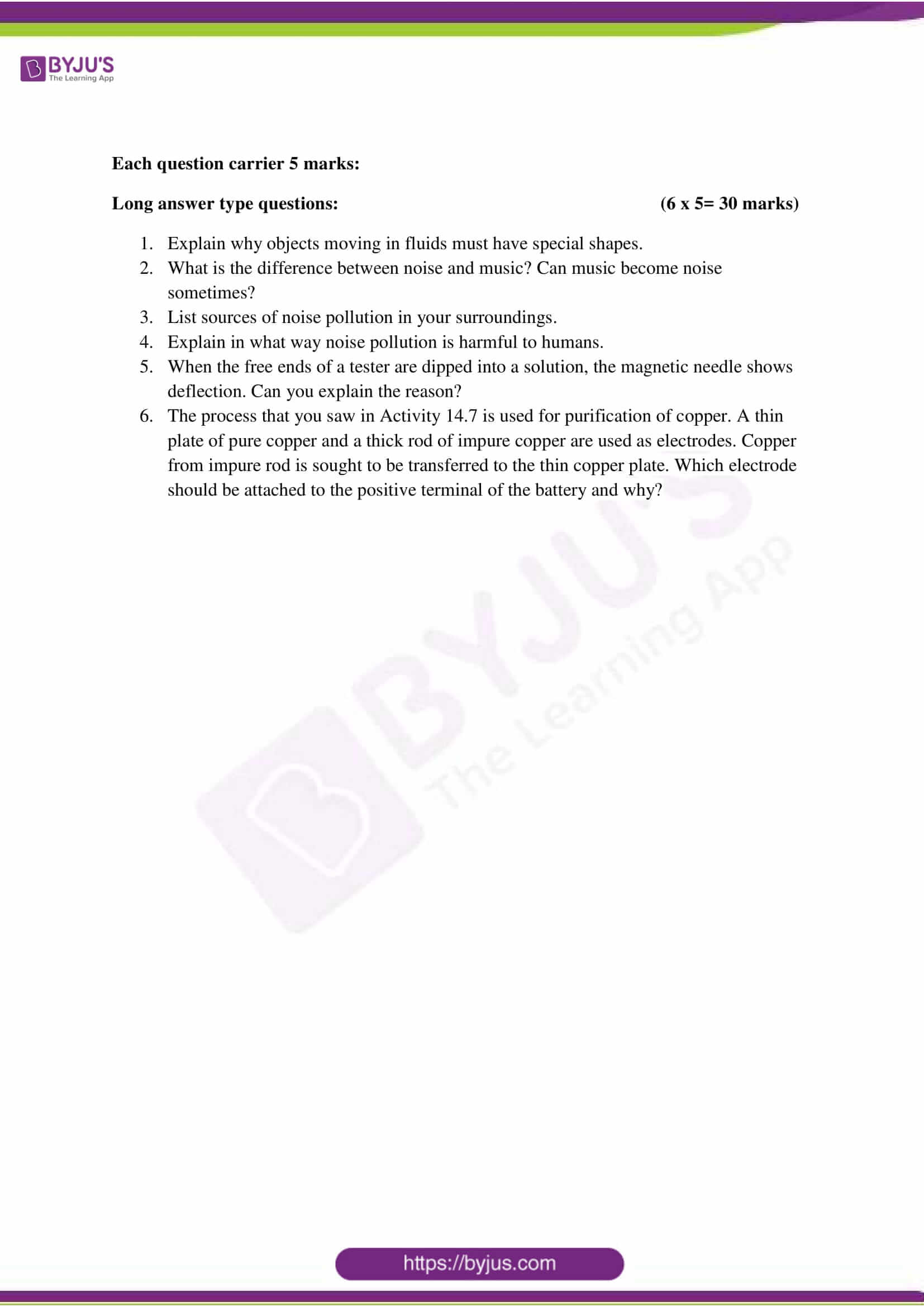 cbse class 8 science sample paper set 5