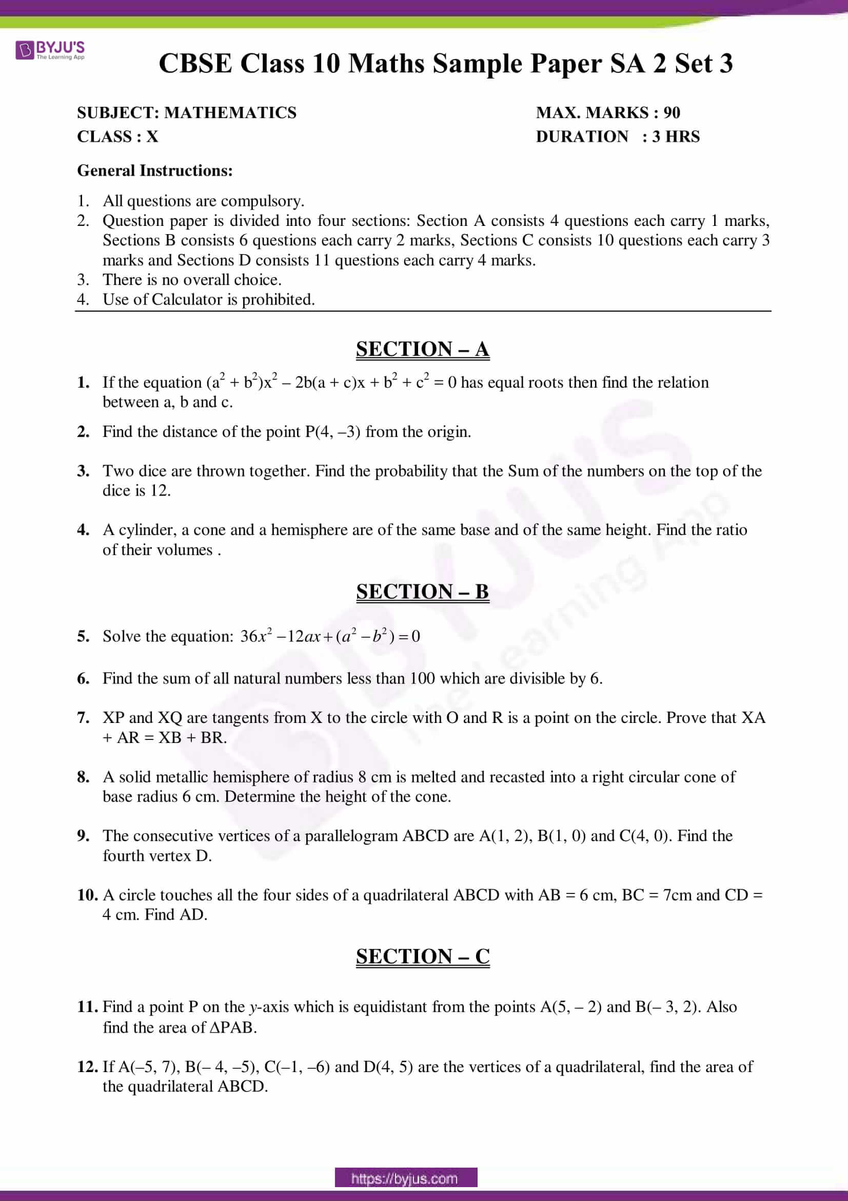 cbse sample paper class 10 maths sa 2 set 3