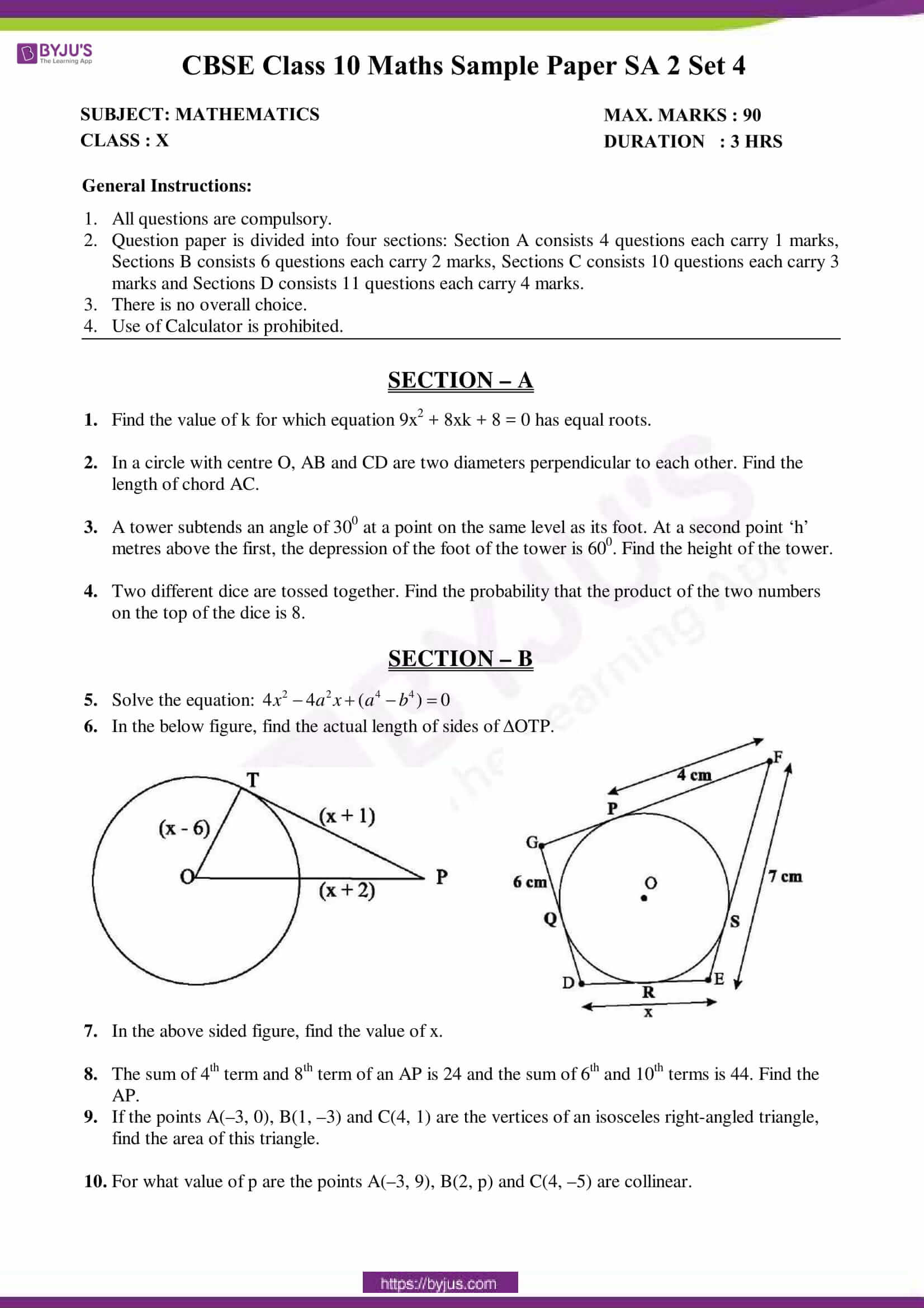 cbse sample paper class 10 maths sa 2 set 4