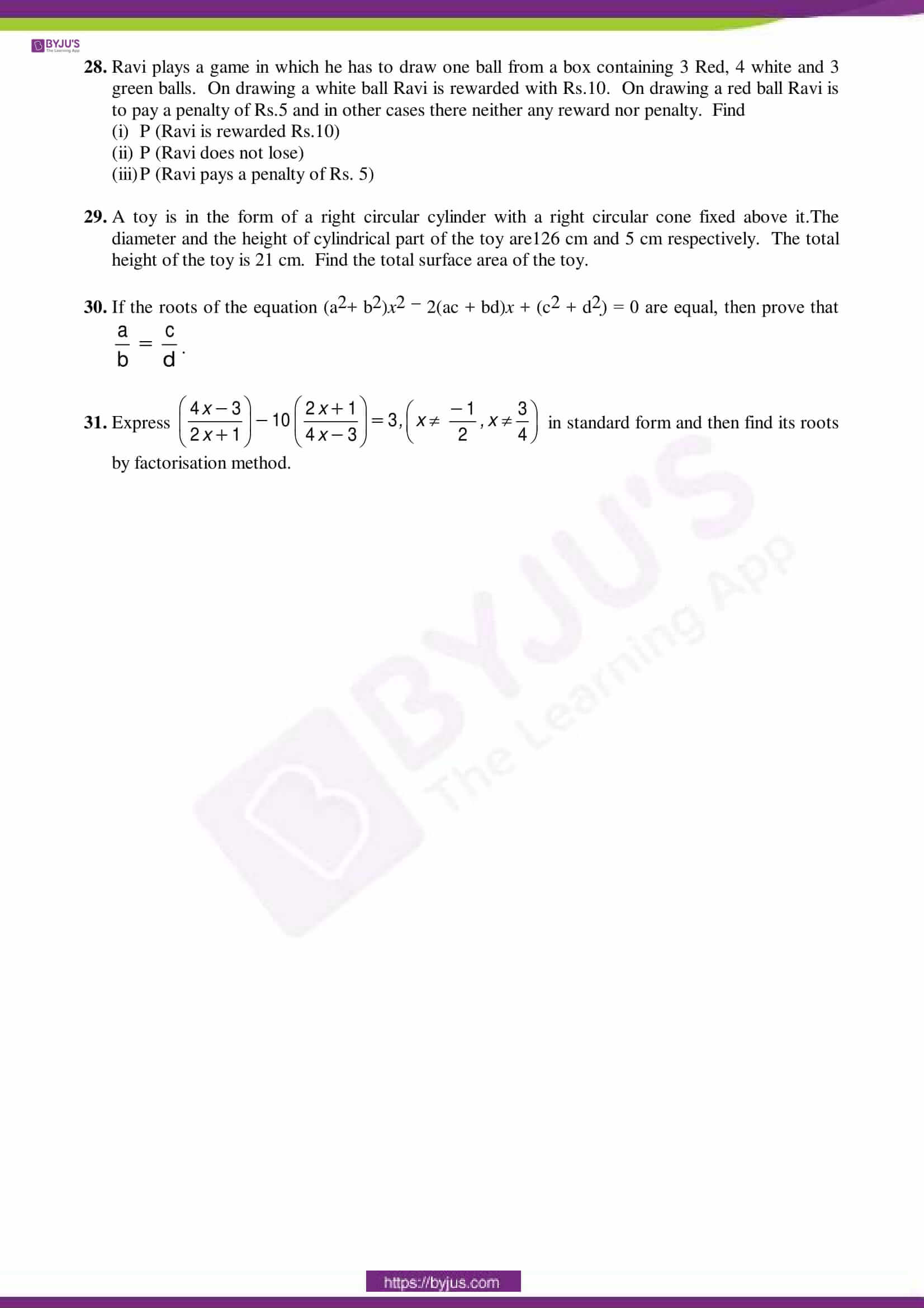 cbse sample paper class 10 maths sa 2 set 5
