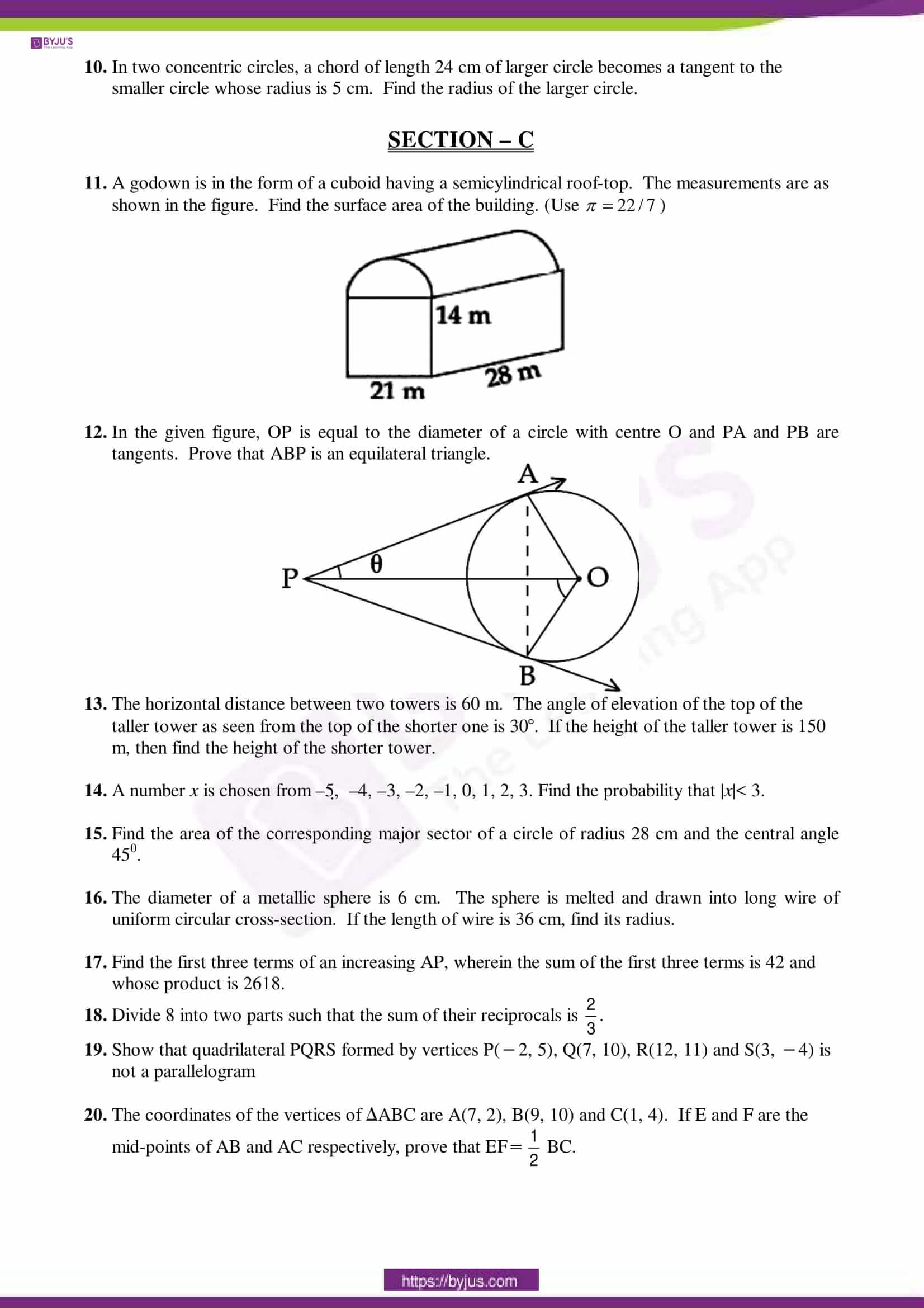 cbse sample paper class 10 maths sa 2 set 6