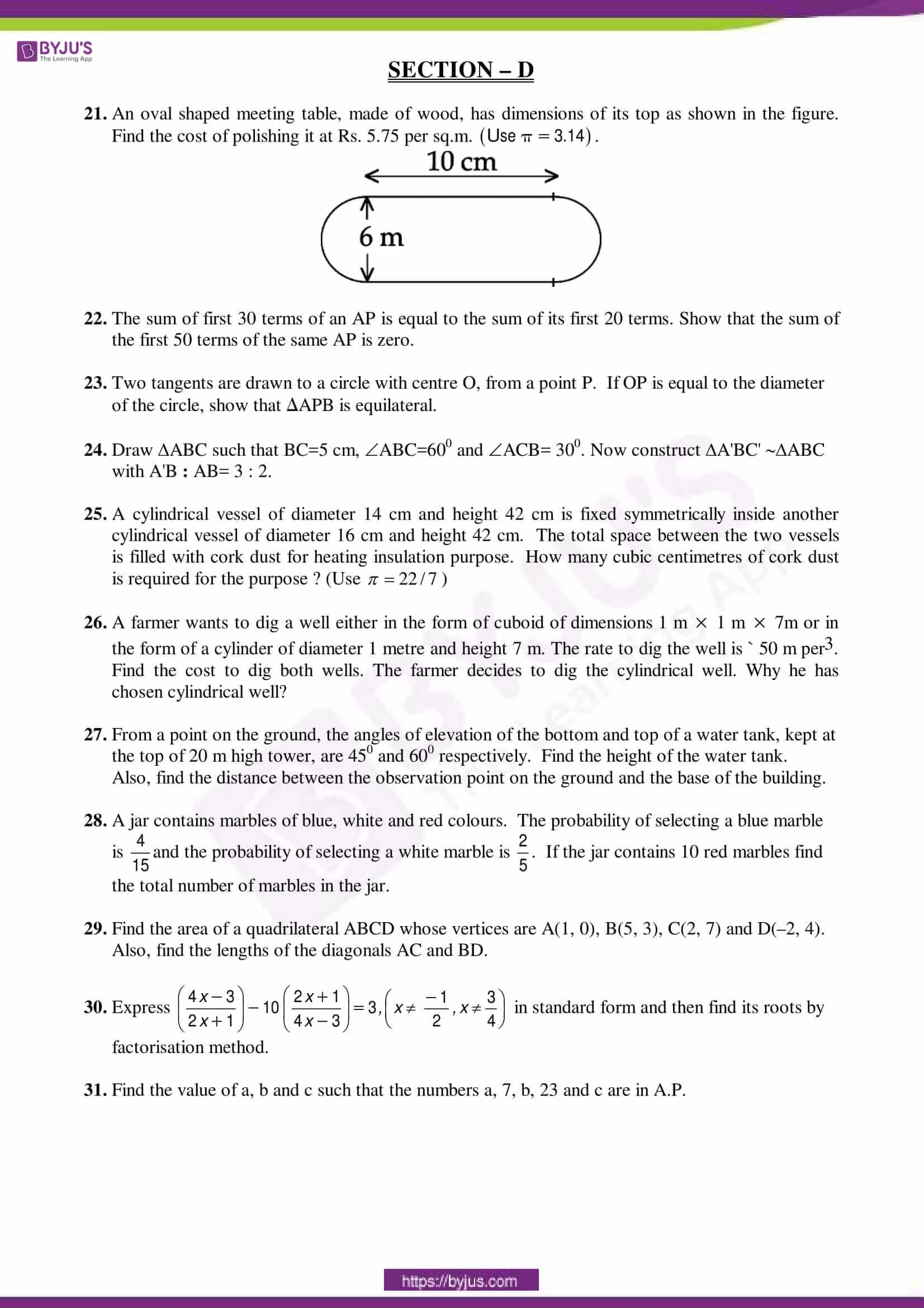 cbse sample paper class 10 maths sa 2 set 6