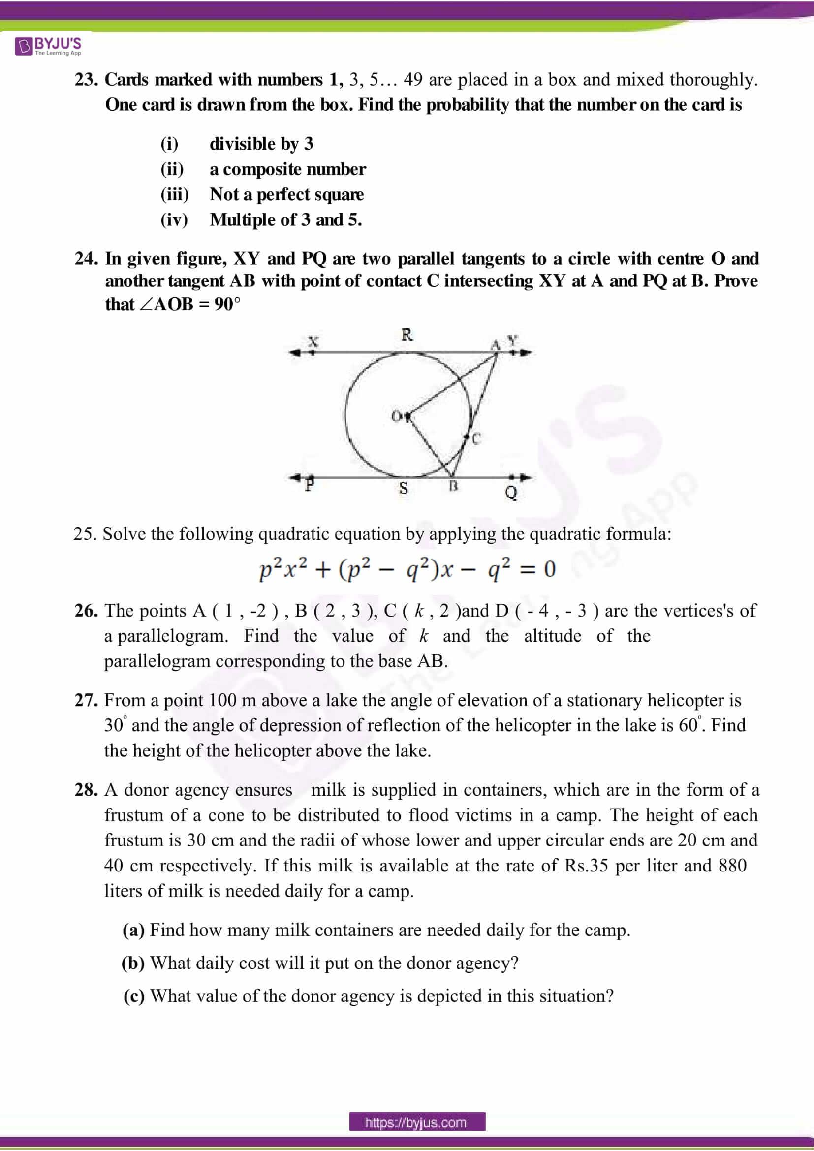 cbse sample paper class 10 maths sa 2 set 9