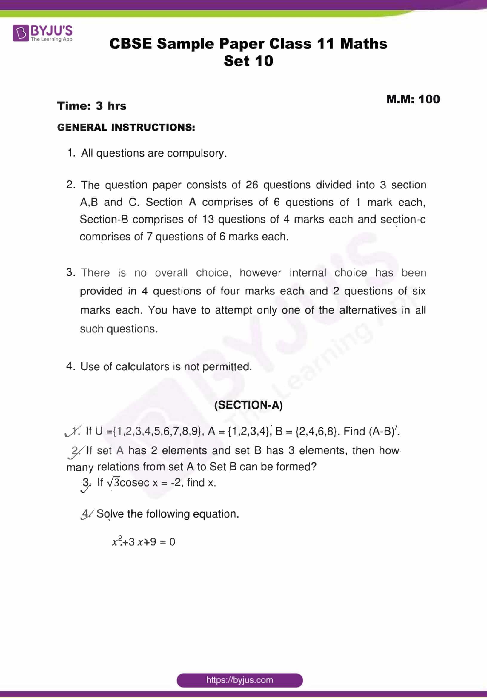 cbse sample paper class 11 maths set 10