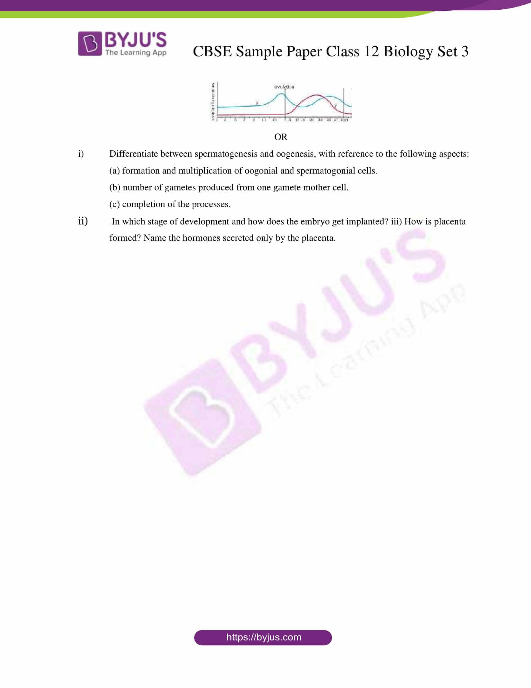 cbse sample paper class 12 biology set 3