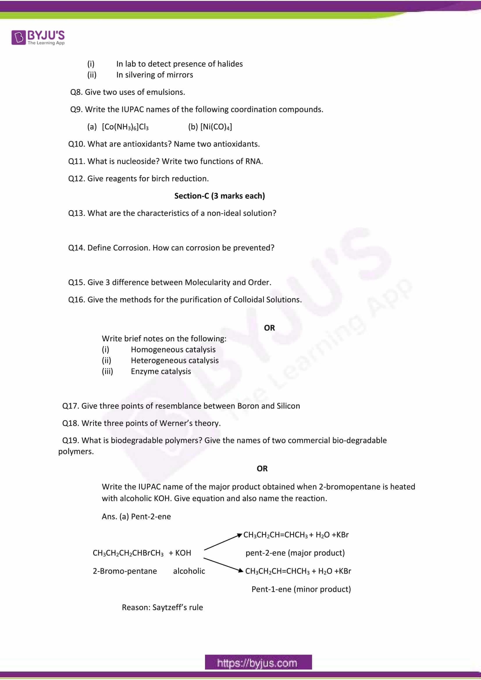 cbse sample paper class 12 chemistry set 1