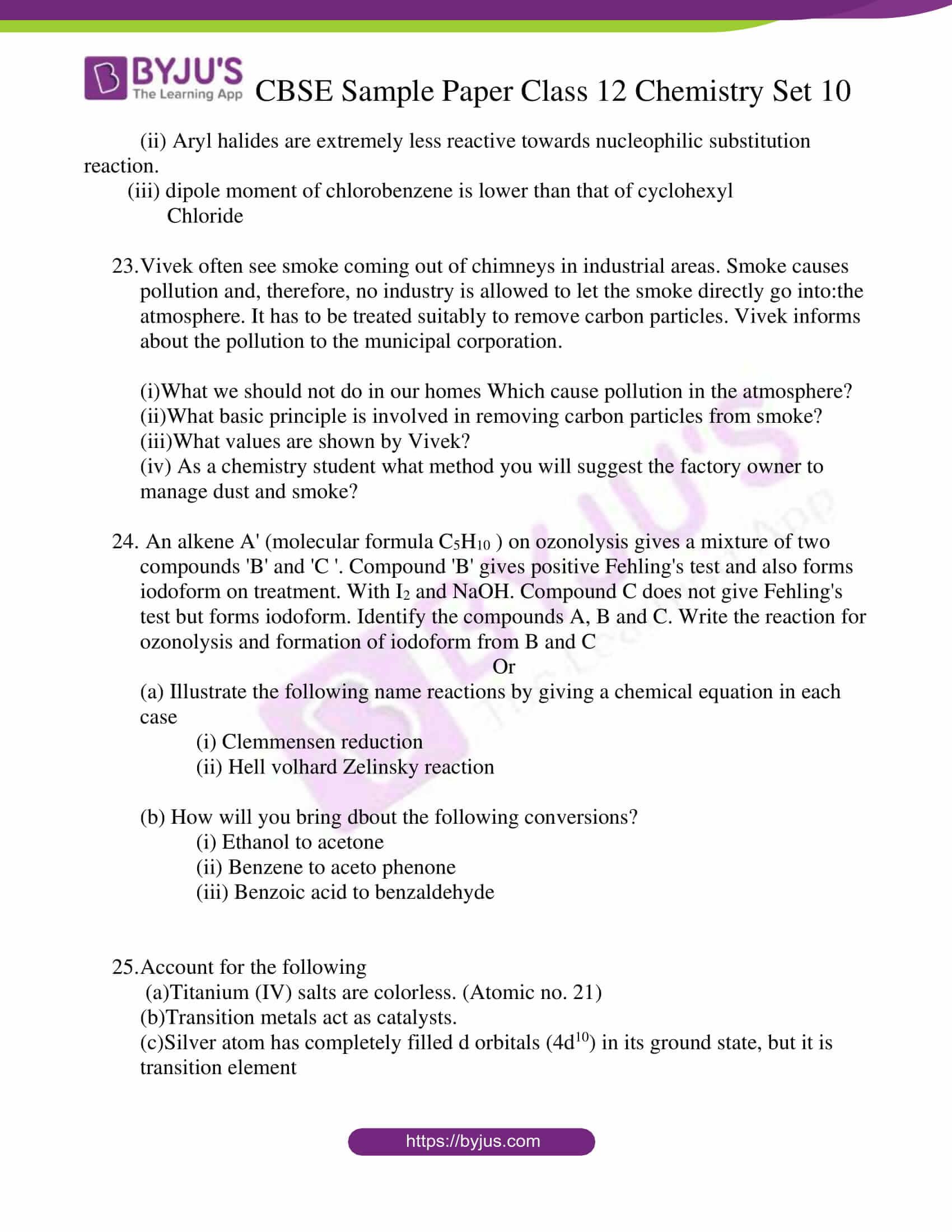 cbse sample paper class 12 chemistry set 10