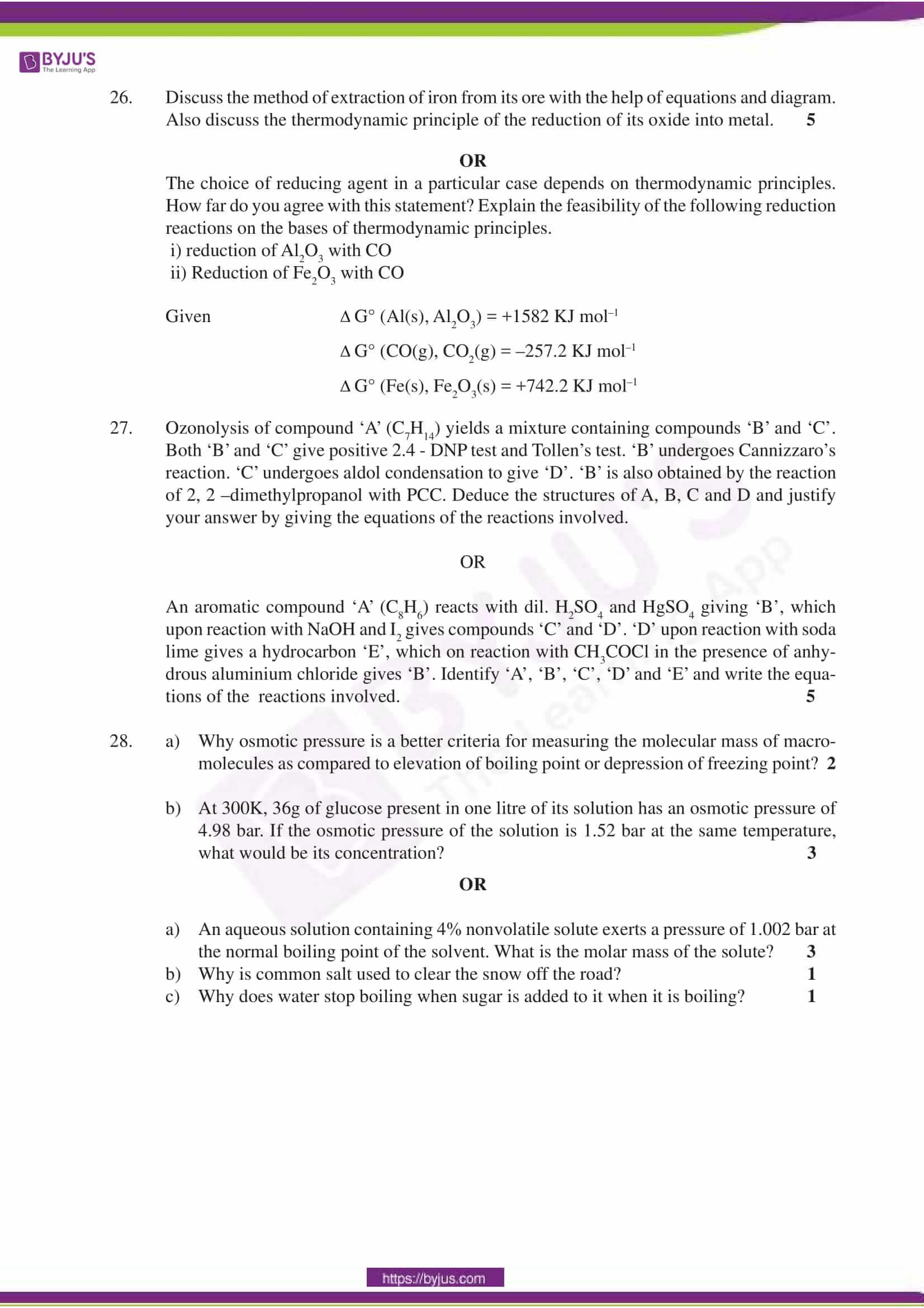 cbse sample paper class 12 chemistry set 7