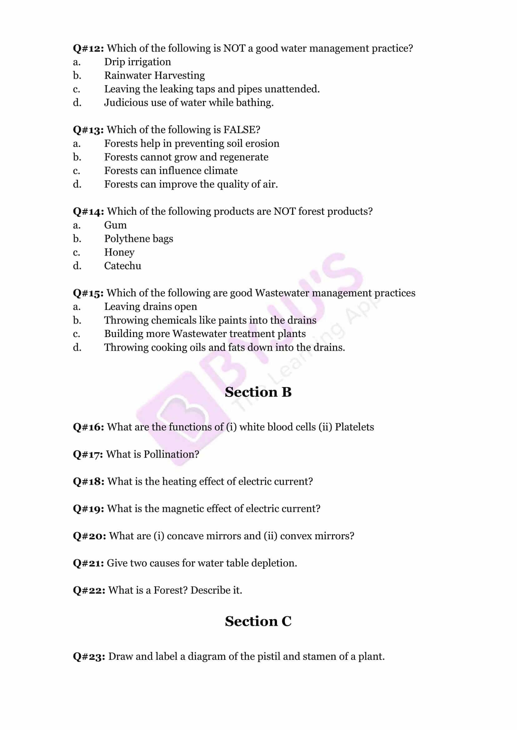 cbse sample paper class 7 science set 1
