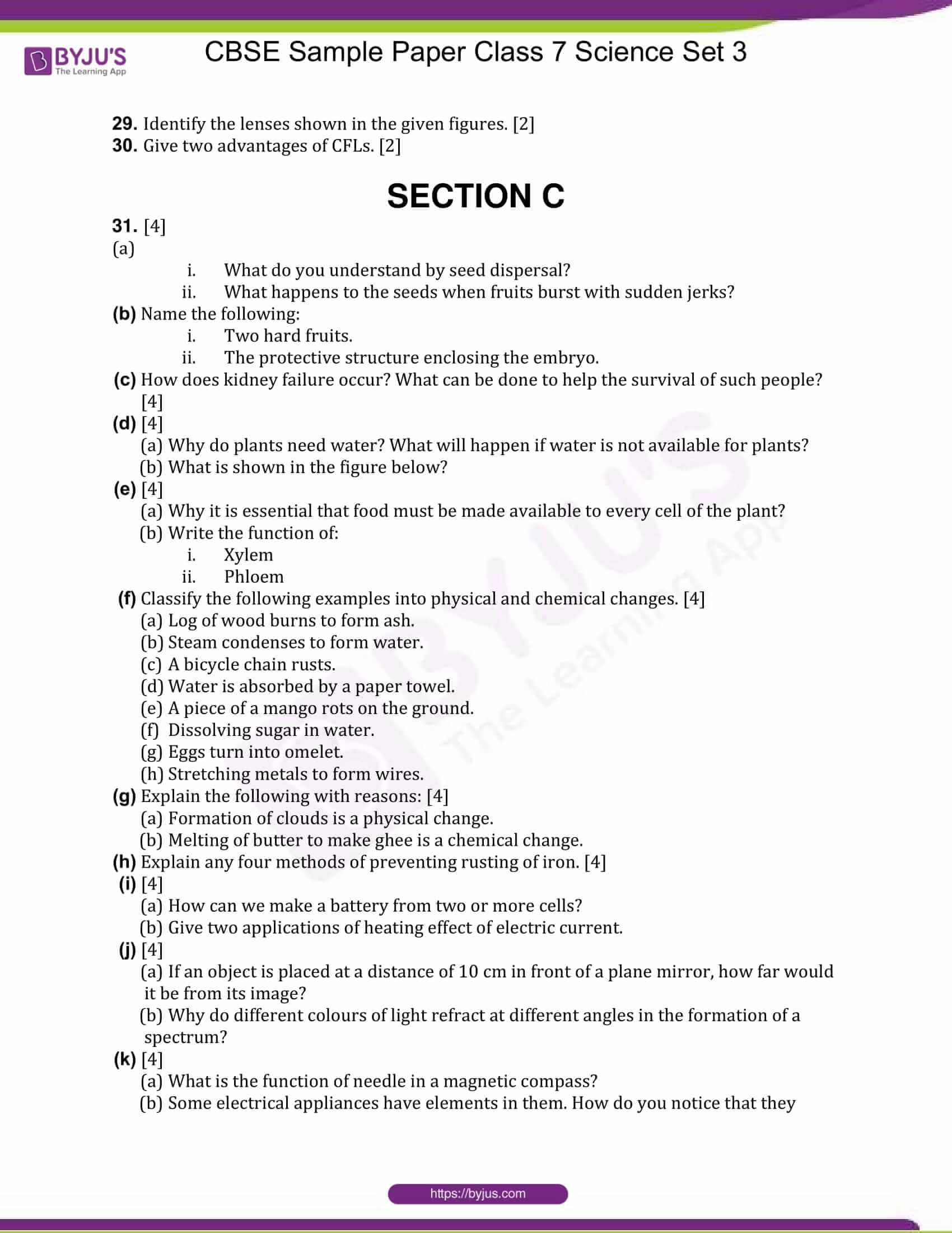 cbse sample paper class 7 science set 3