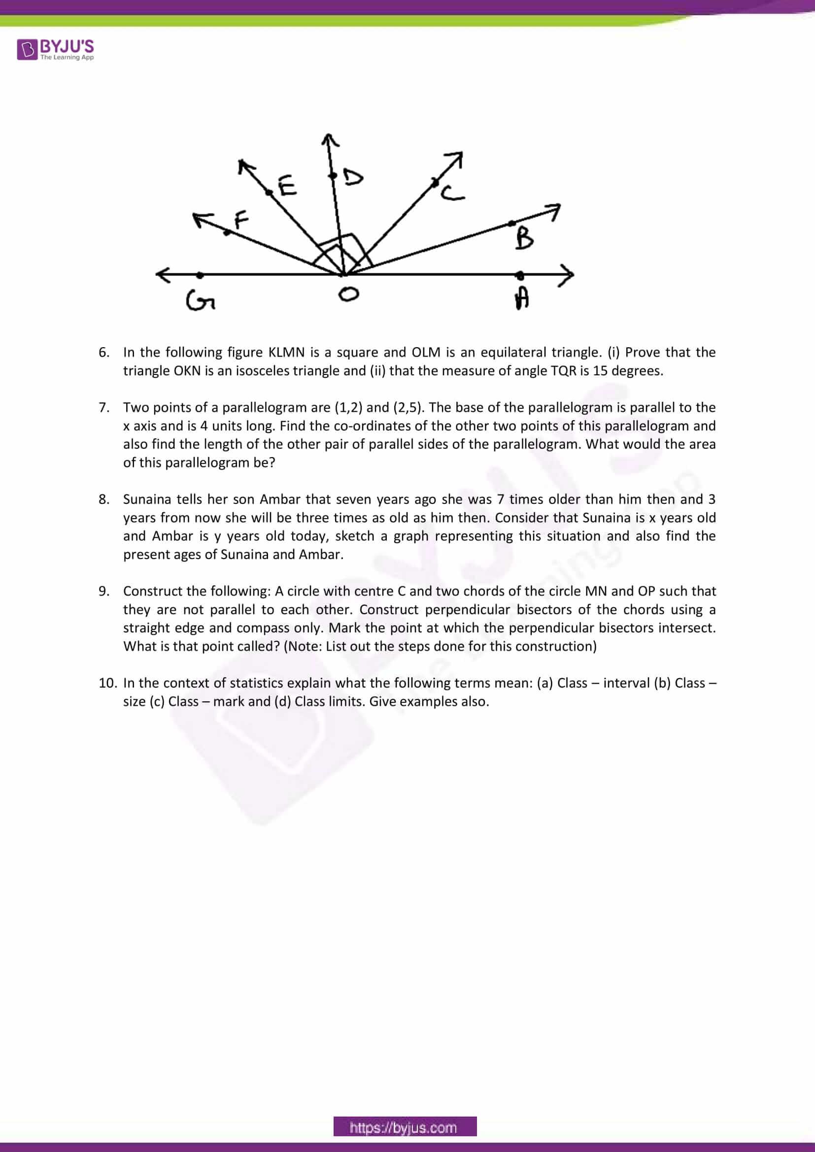 cbse sample paper class 9 maths set 10