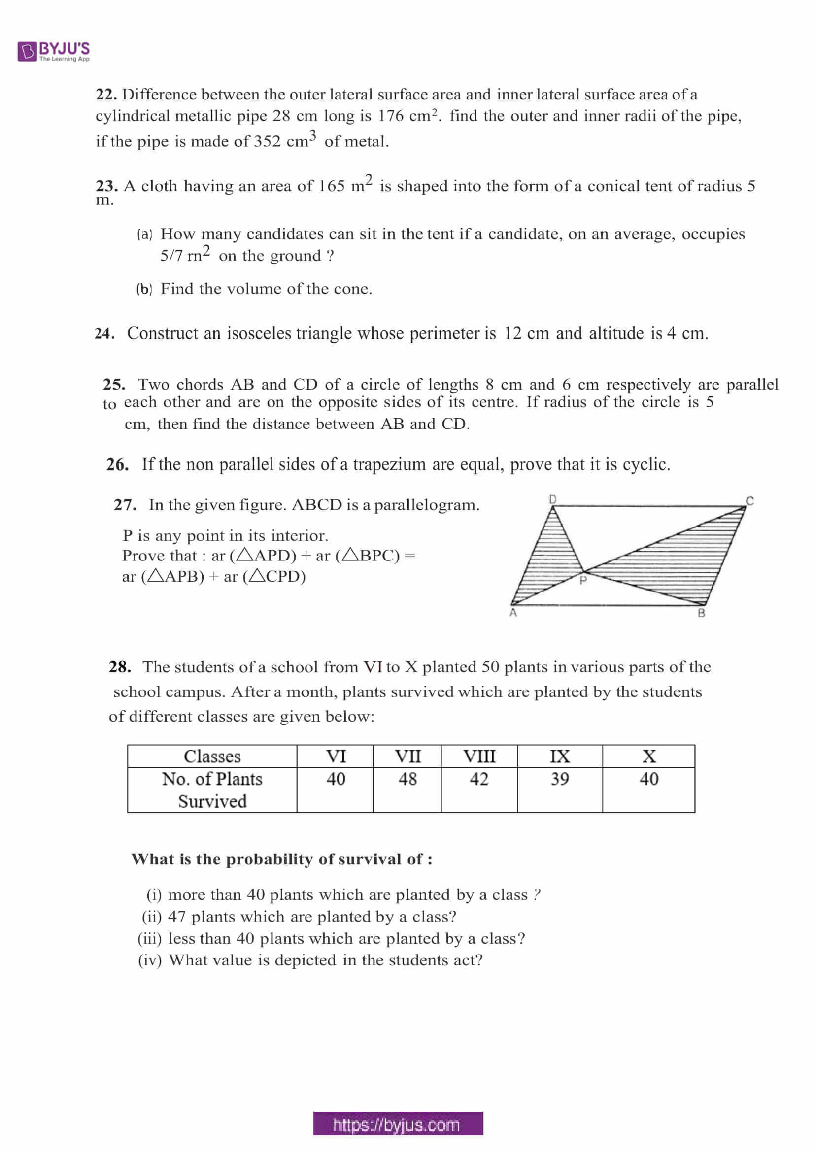 cbse sample paper class 9 maths set 12