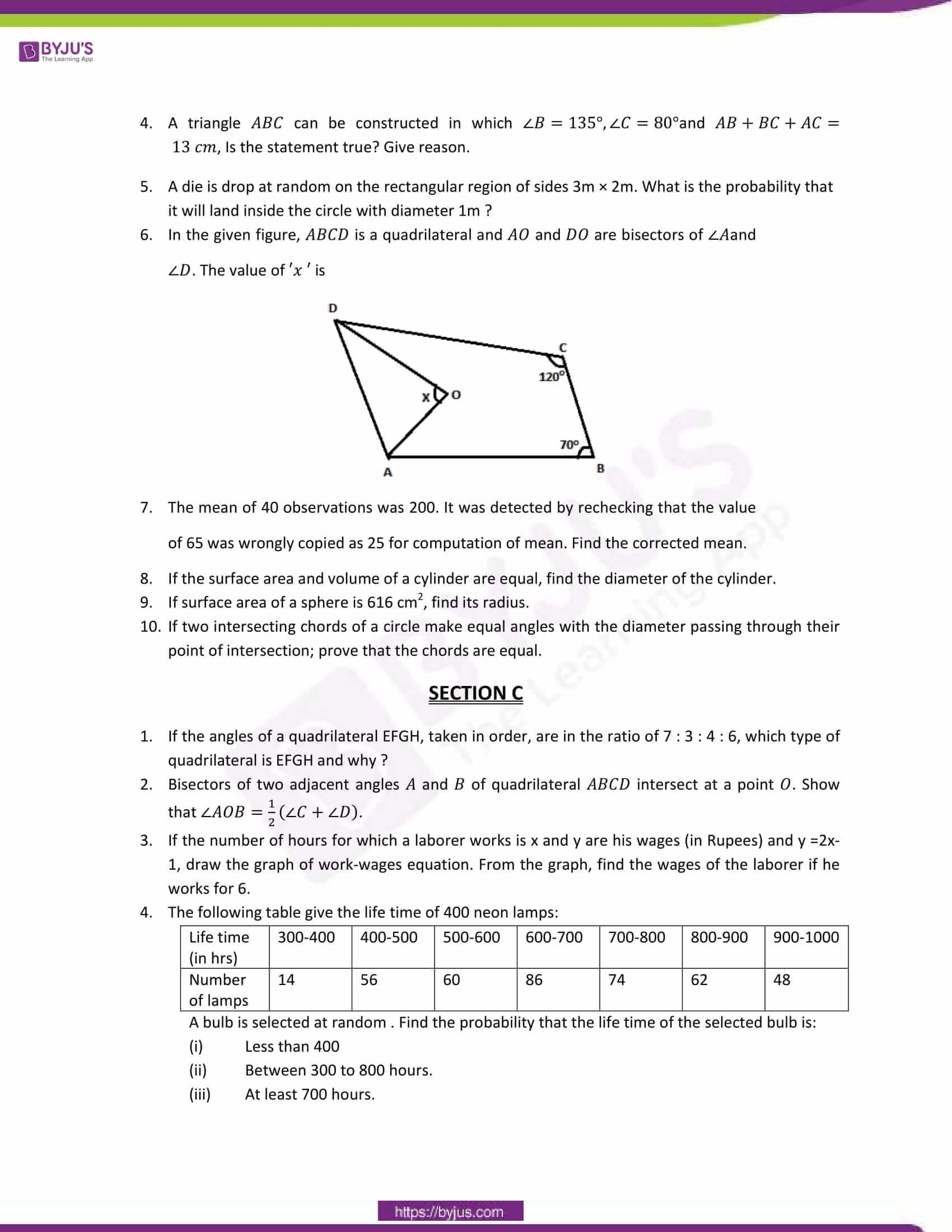 cbse sample paper class 9 maths set 13