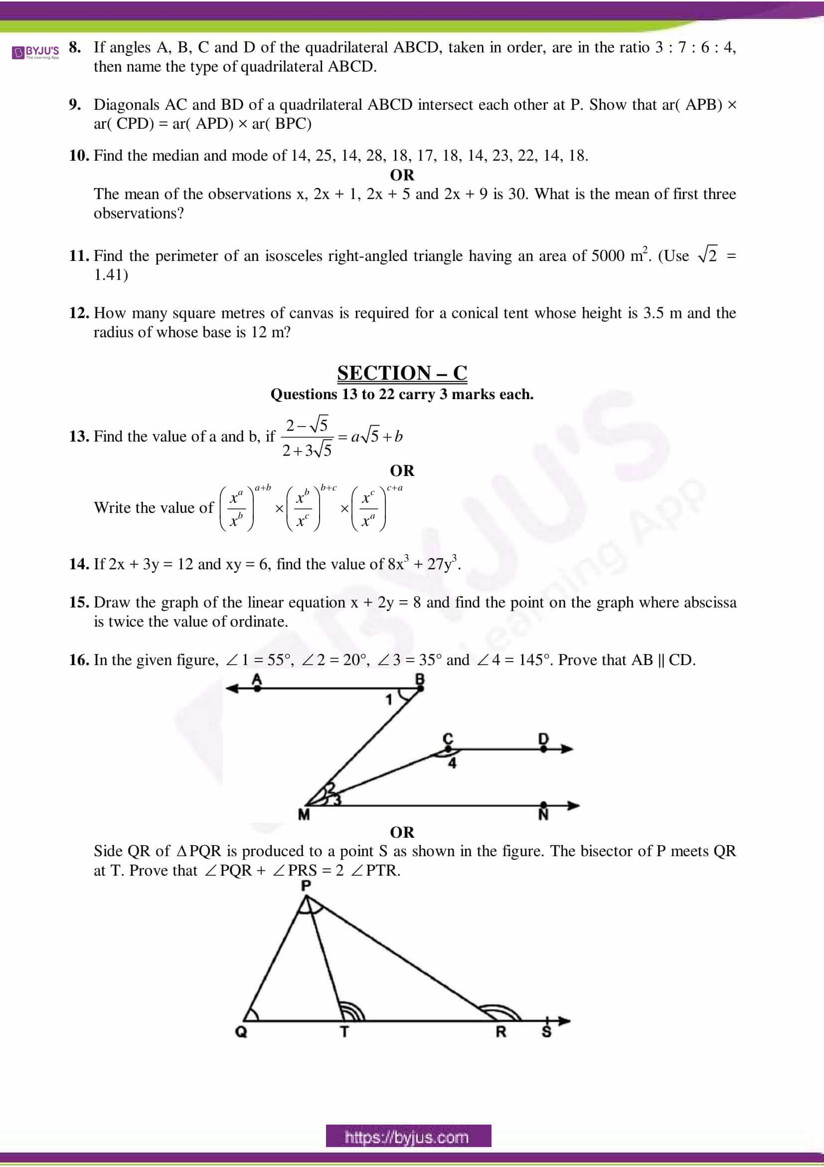 cbse sample paper class 9 maths set 4