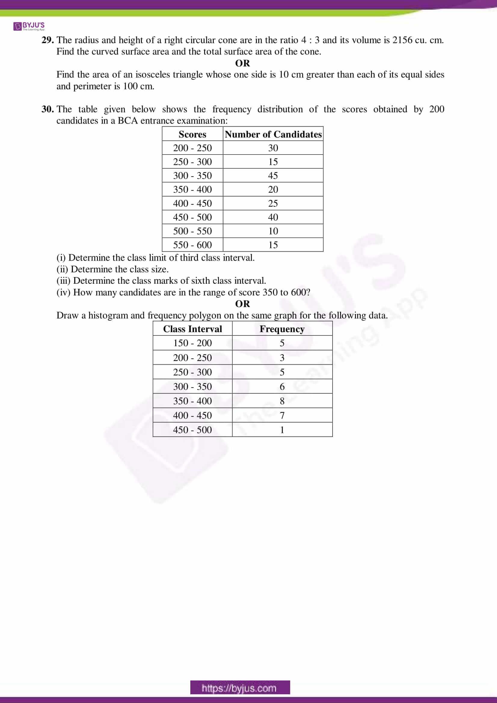 cbse sample paper class 9 maths set 6