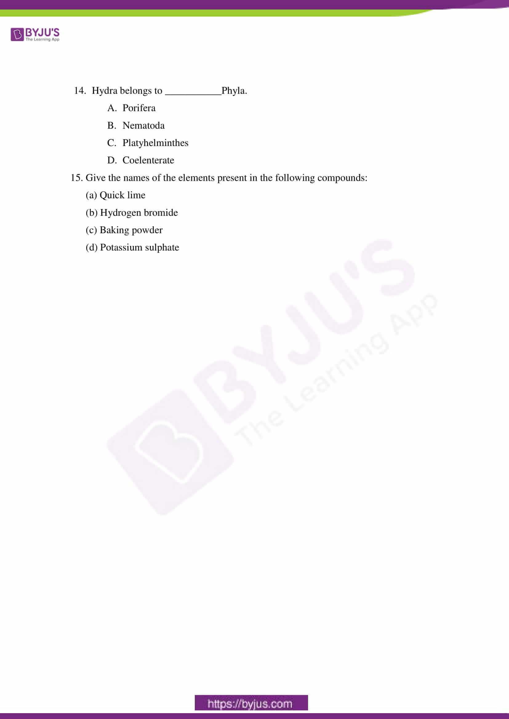cbse sample paper class 9 science set 10