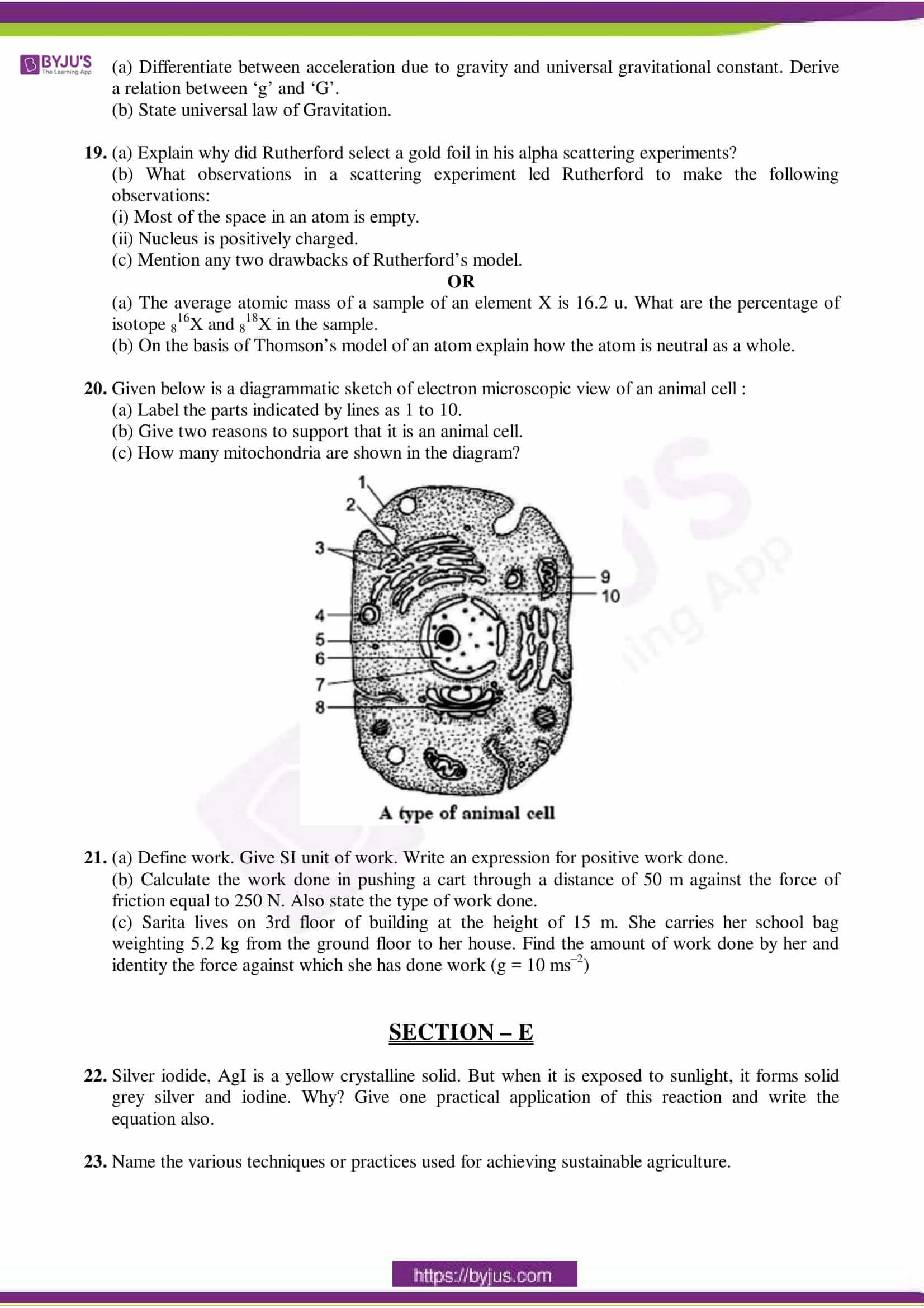 cbse sample paper class 9 science set 7