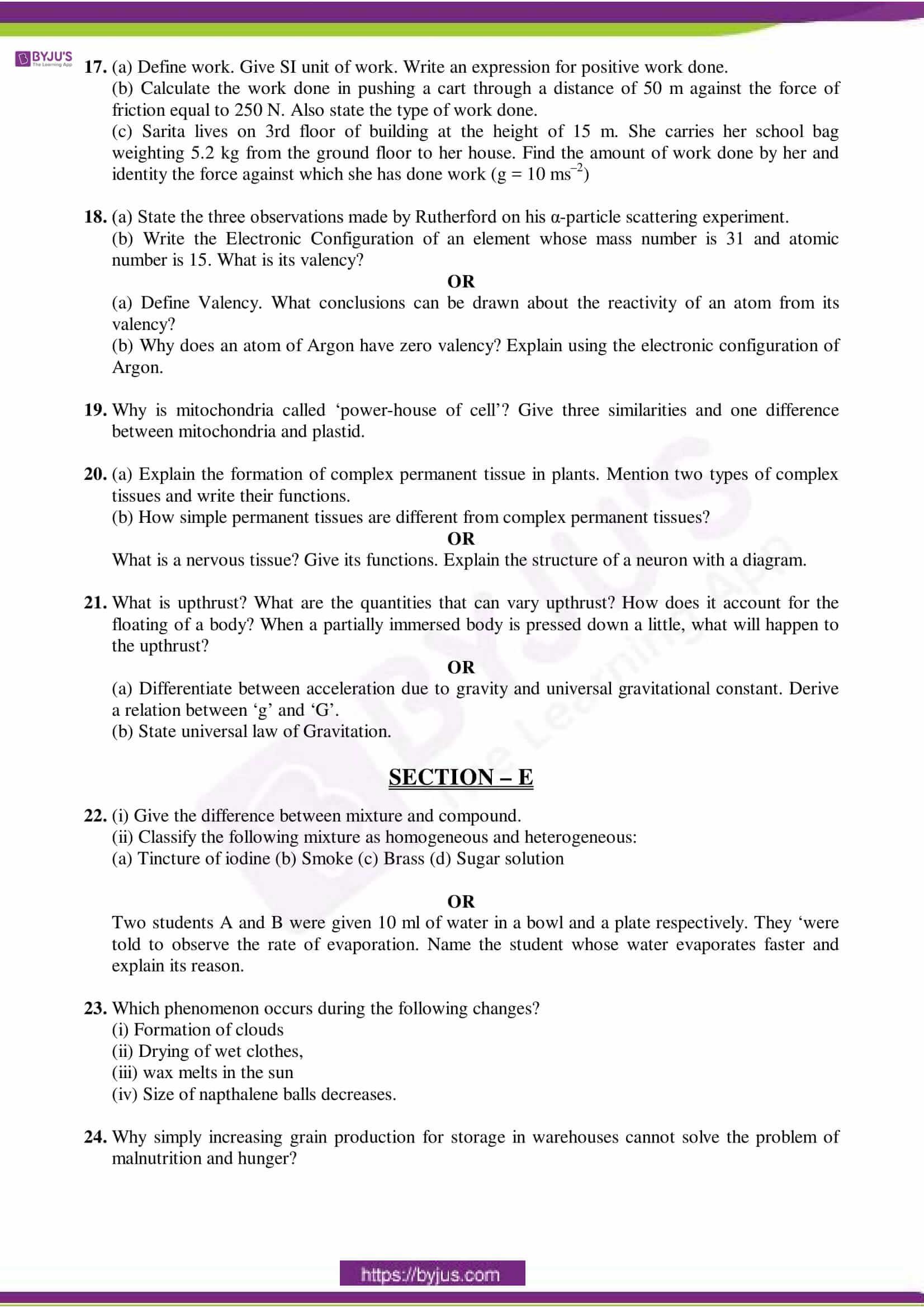 cbse sample paper class 9 science set 9