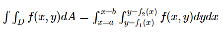 Double Integral Formula for Vertically divided region