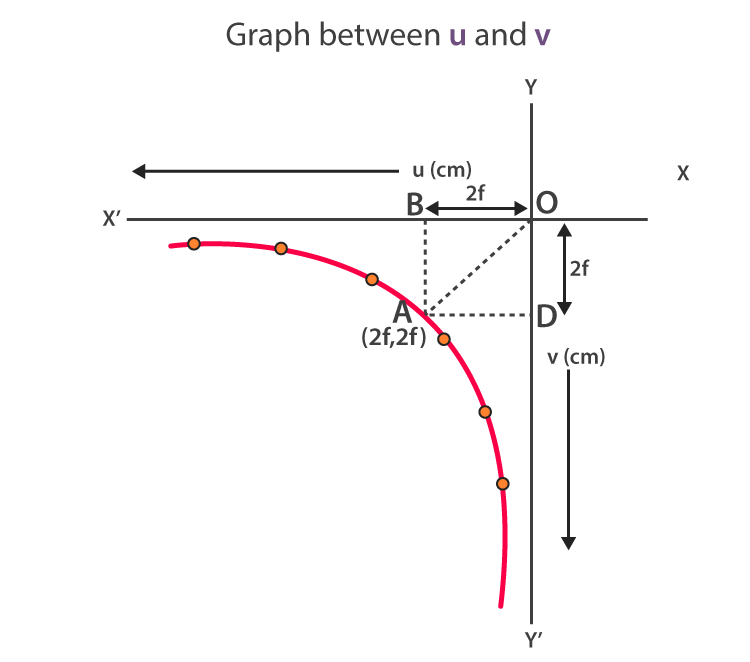 Graph between u and v. A rectangular hyperbola is obtained