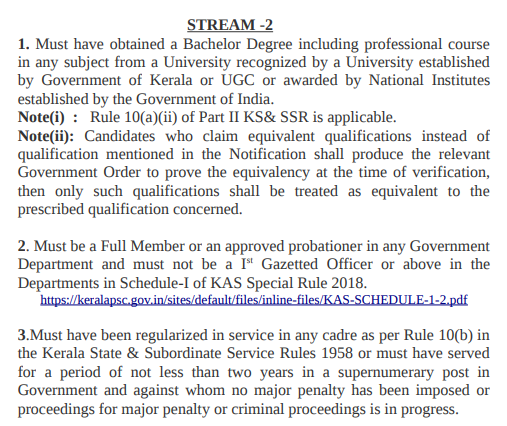 Kerala PSC KAS Eligibility - Academic Qualification - Stream-2 Post